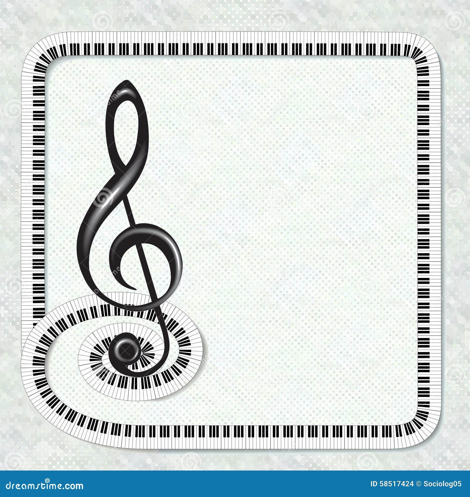 Affiche Musicale Avec Le Cadre De Clef Triple Et De Clavier Illustration de Vecteur - Image ...