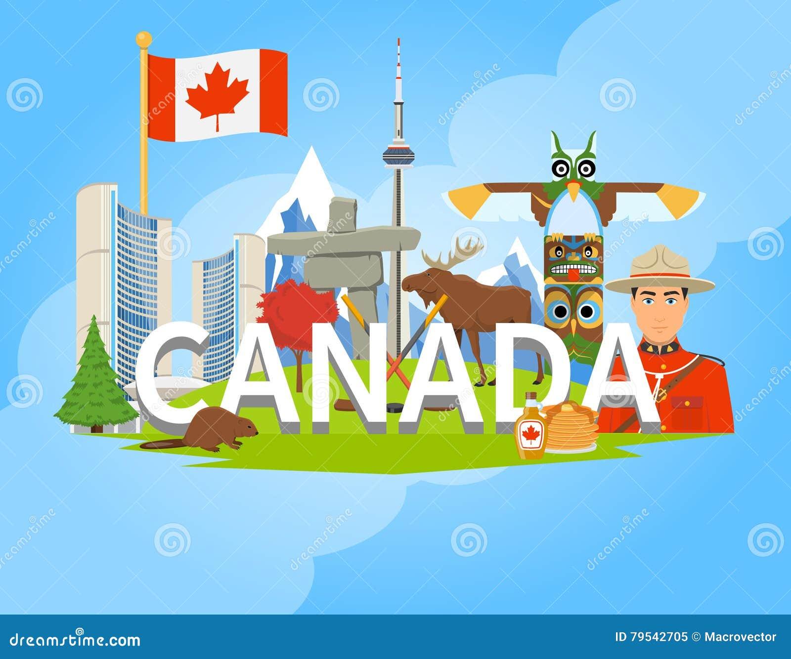 Affiche plate de composition canadienne en symboles nationaux