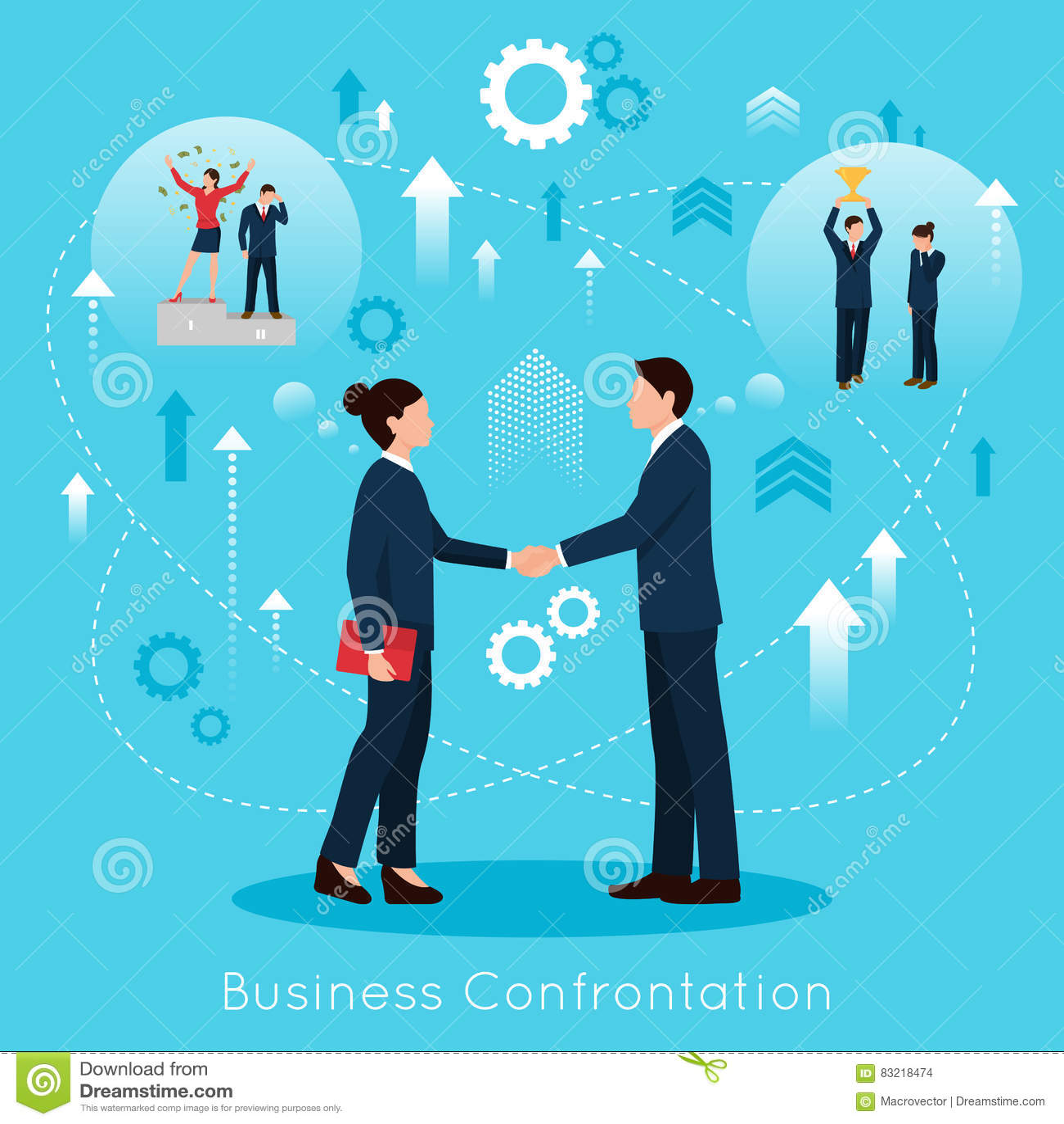 Affiche plate de composition en confrontation constructive d affaires