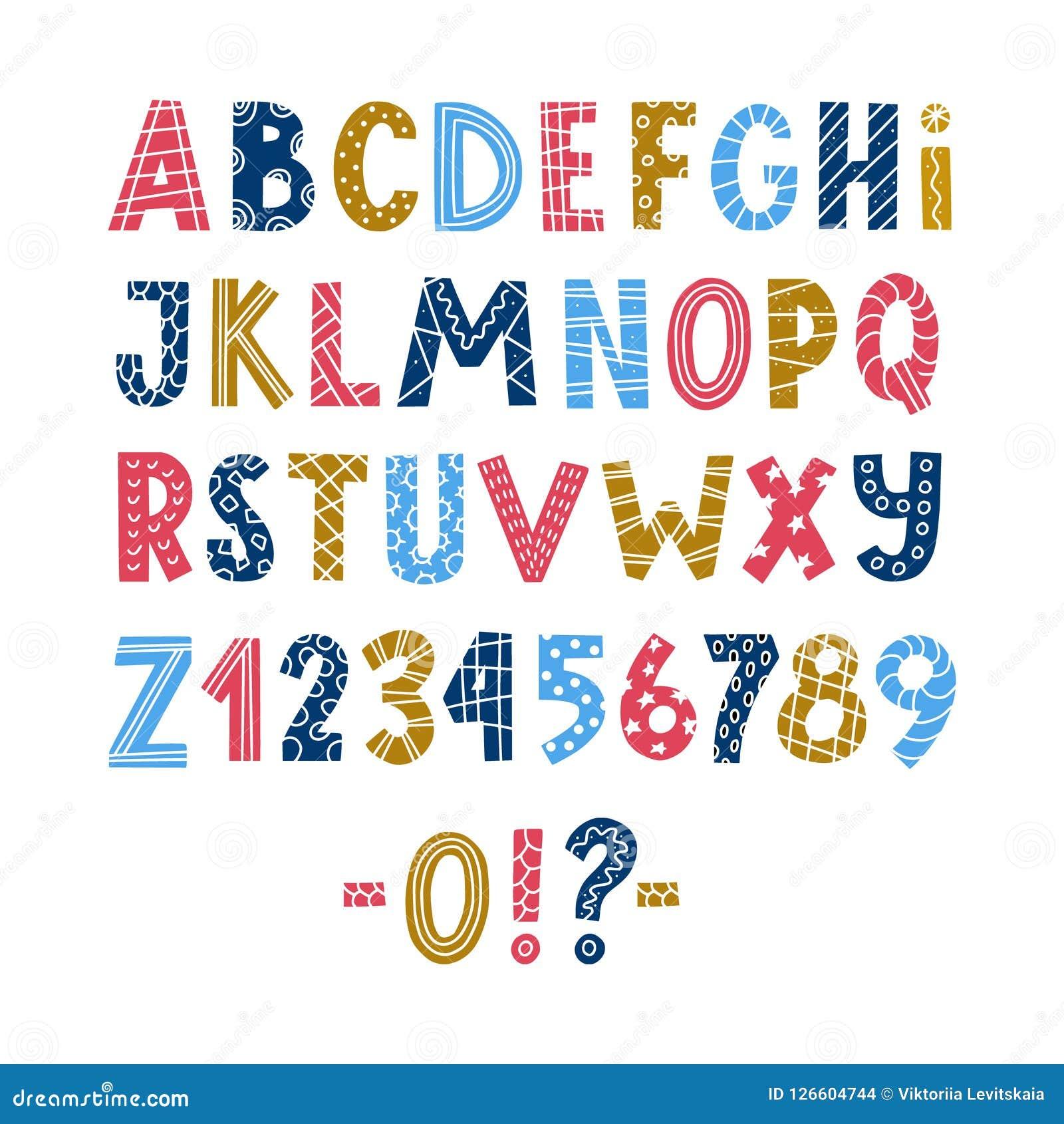 Affiche scandinave colorée drôle d alphabet latin