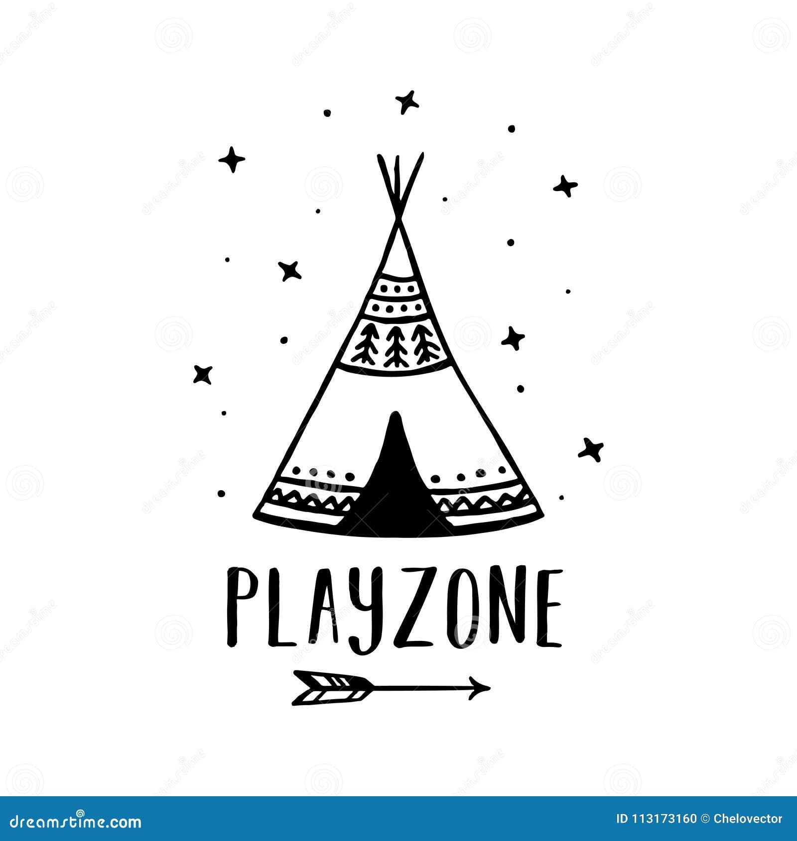 Affiche Tiree Par La Main De Style Scandinave De Playzone Illustration De Vecteur Illustration De Vecteur Illustration Du Playzone Style 113173160