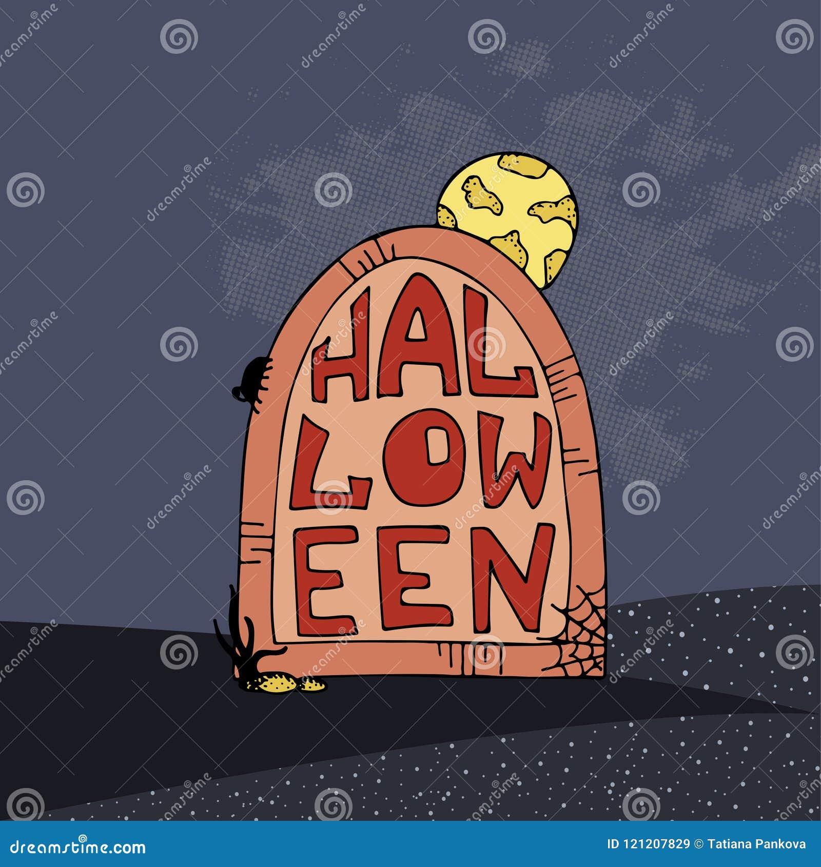 Affiche tirée par la main de vecteur pour la partie de Halloween gravestone