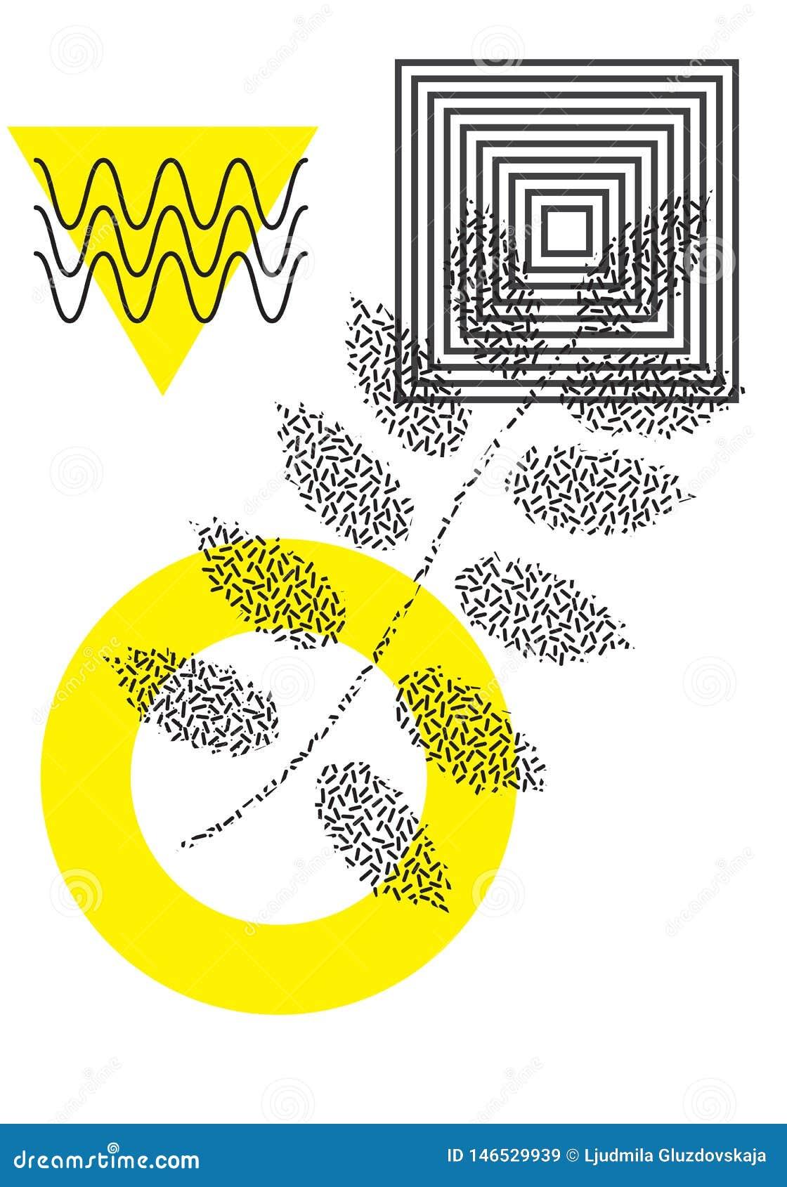 Affiche universelle de tendance juxtapos?e avec la composition g?om?trique audacieuse lumineuse en ?l?ments de jaune de feuillage