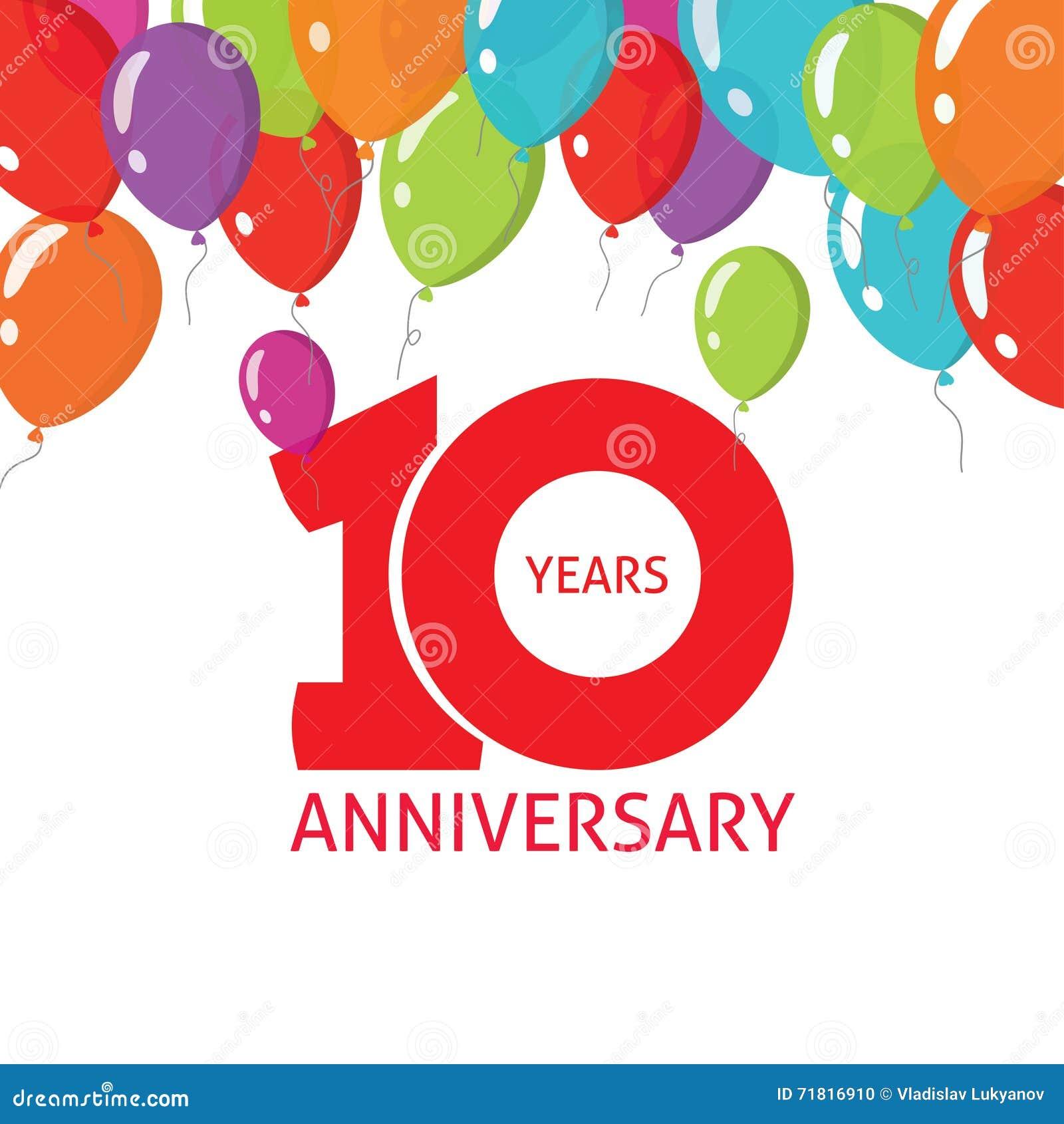 Affiche van verjaardags de 10de ballons, 10 van het bannerjaar ontwerp