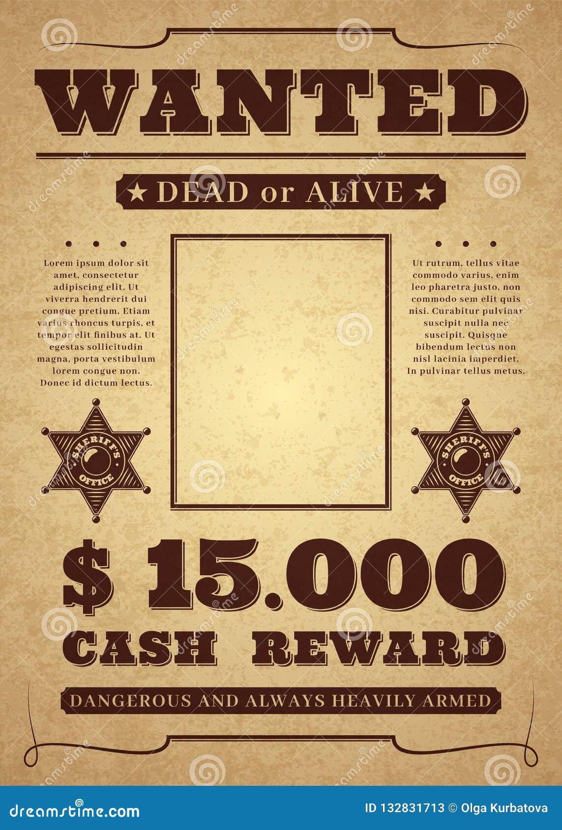Affiche voulue Vieux calibre criminel occidental affligé de vecteur Fond voulu mort ou vivant