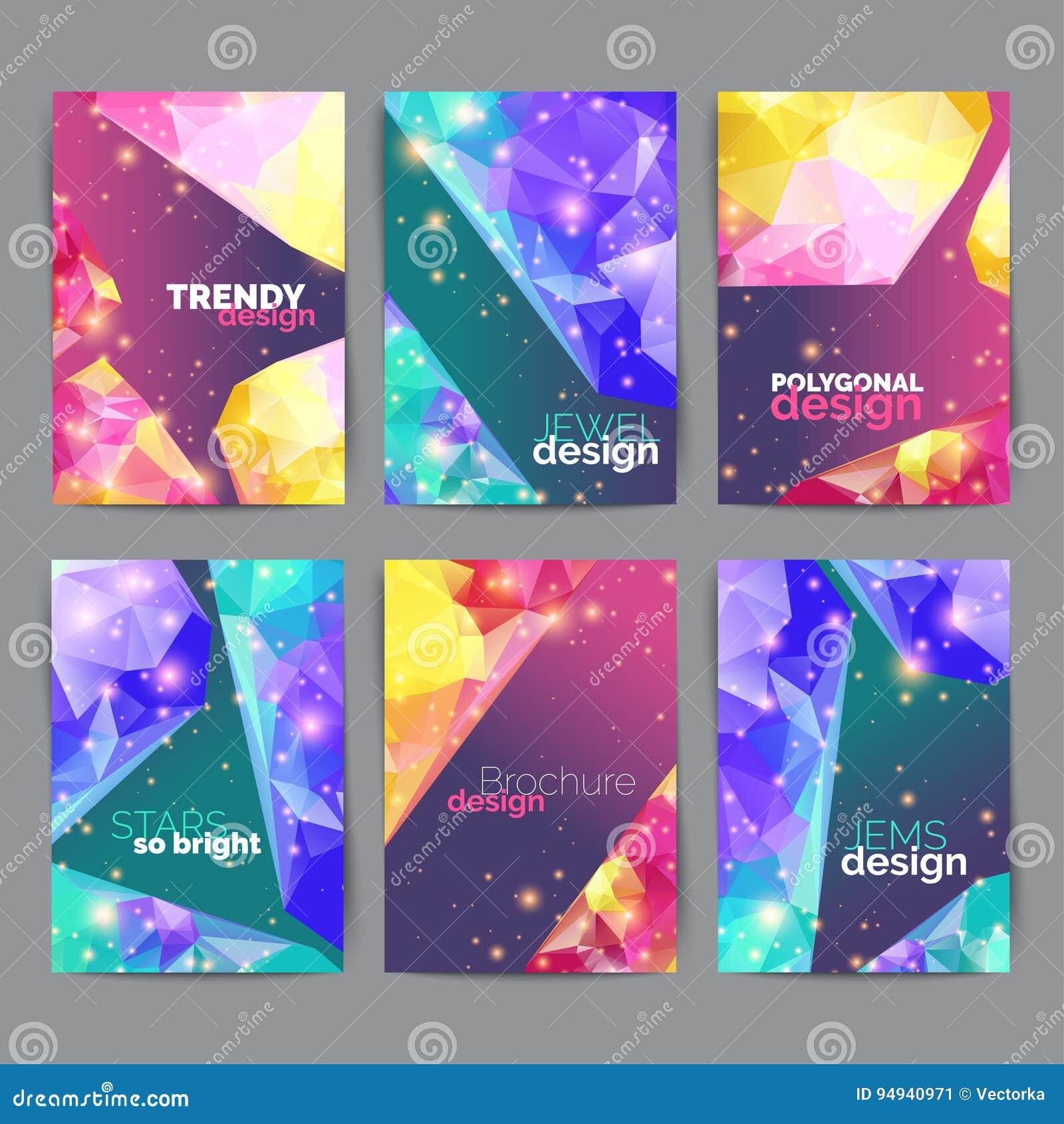 Affiches Abstraites De Mode Ensemble Carte Visite Professionnelle Dessin Geometrique Feuille Titre Brochure Calibre Rapport