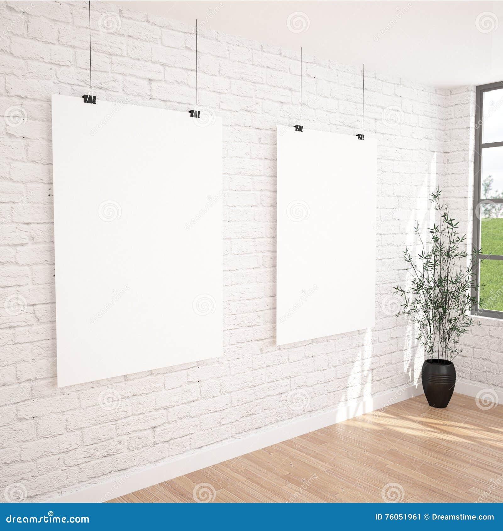 2 affiches accrochantes raillent dans l 39 espace int rieur d 39 exposition contemporaine avec le pot. Black Bedroom Furniture Sets. Home Design Ideas