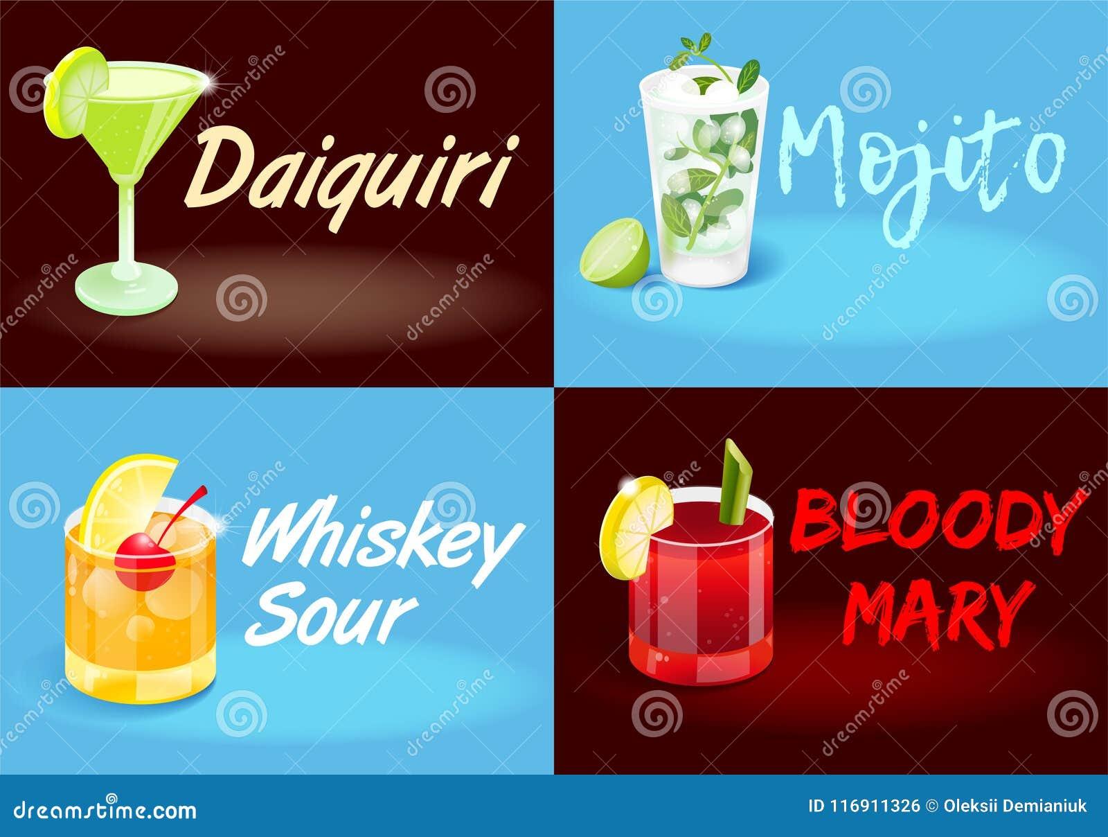 Affiches réglées de cocktail