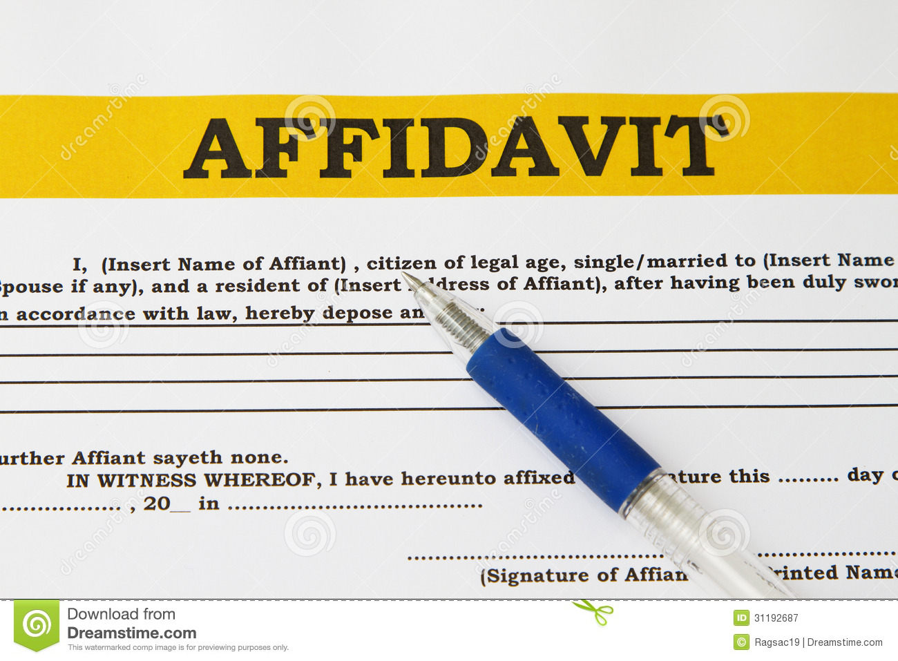 Affidavit  Free General Affidavit Form Download