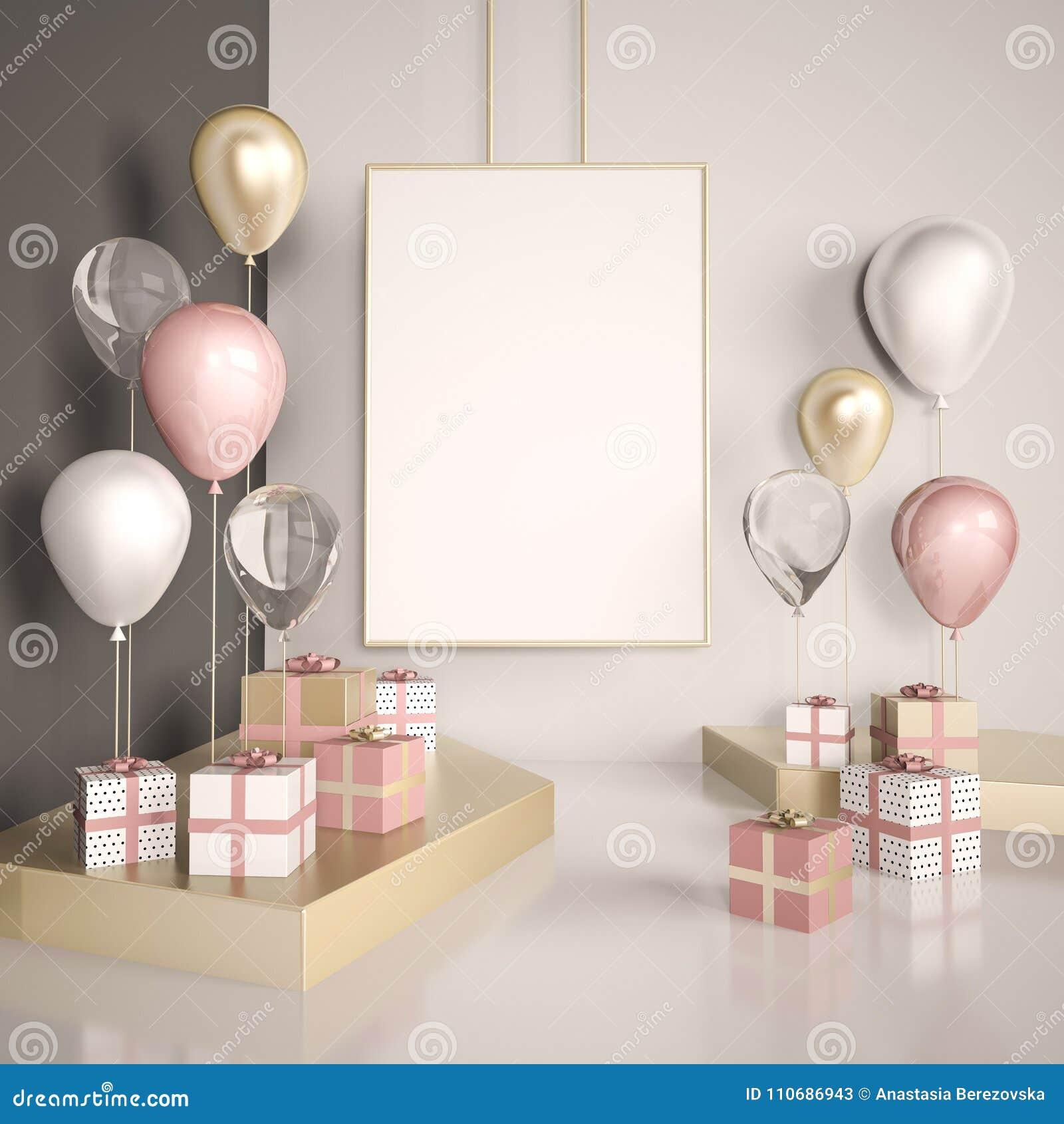 Affischåtlöje upp 3d framför inre plats Pastellfärgade rosa färger och guldballonger med gåvaaskar på det vita golvet Exponerings