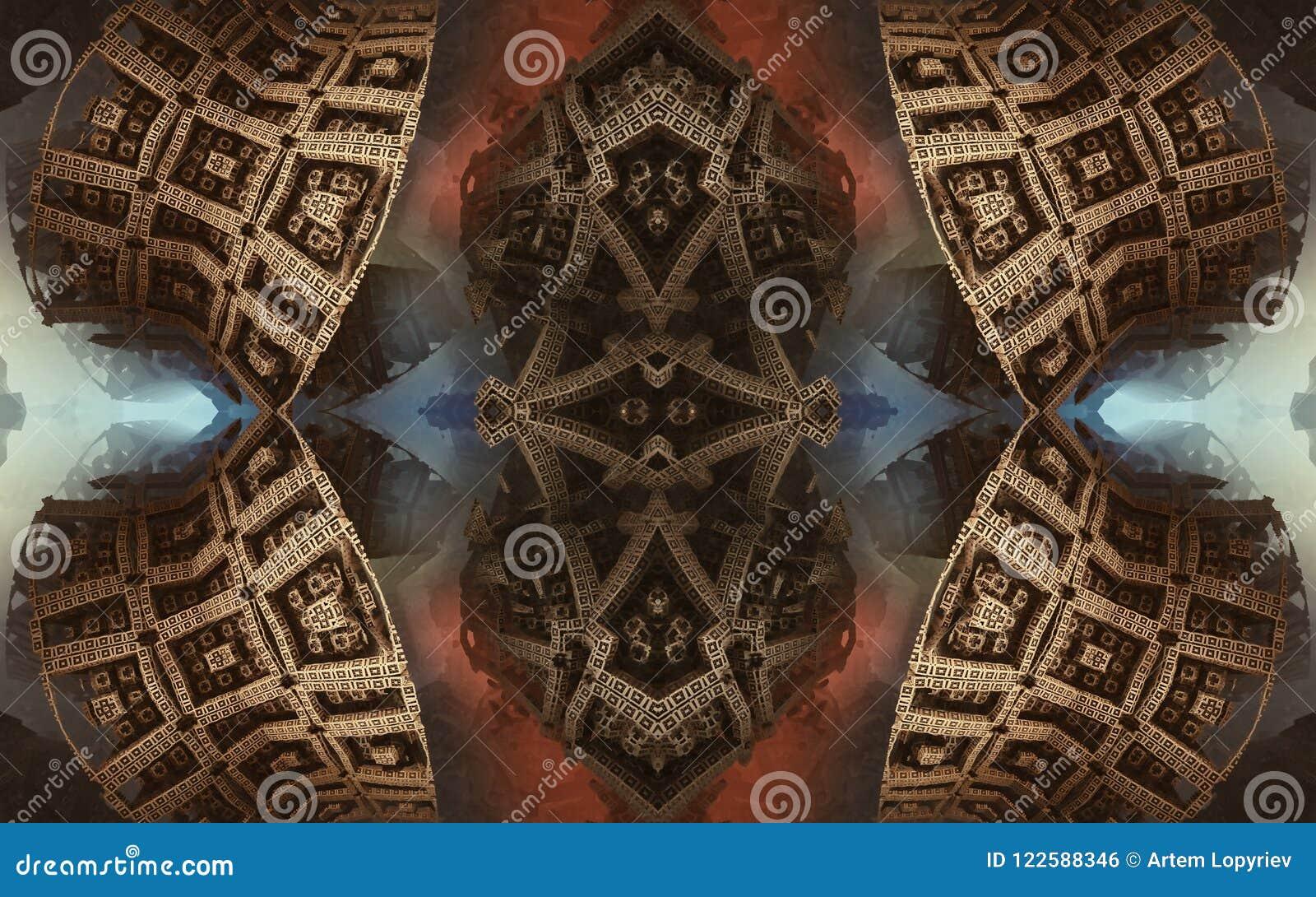 Affisch eller bakgrund för epos abstrakt fantastisk Futuristisk sikt från inre av fractalen Modell i form av pilar