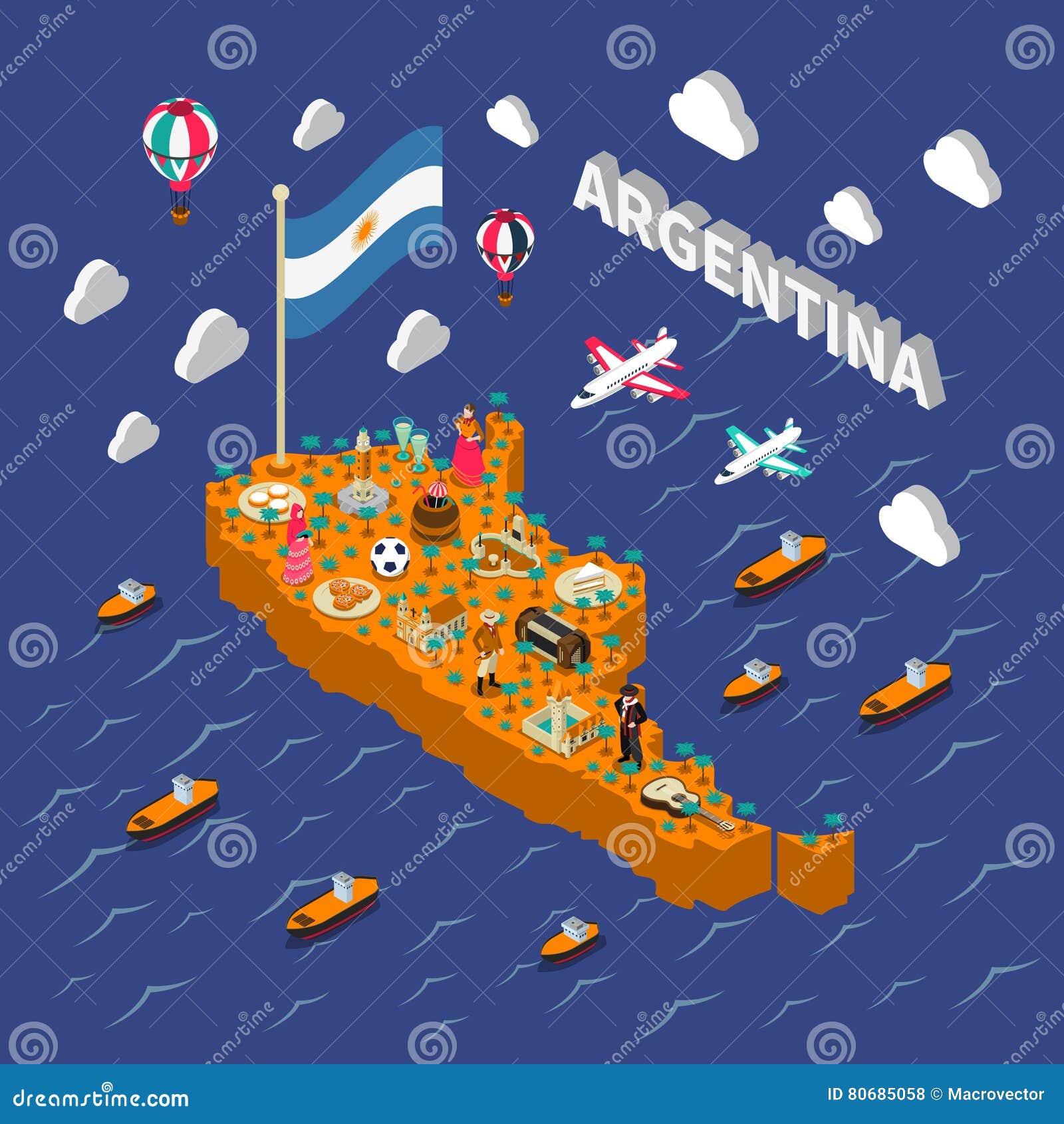 Affisch för översikt Argentina för Touristic dragningar isometrisk