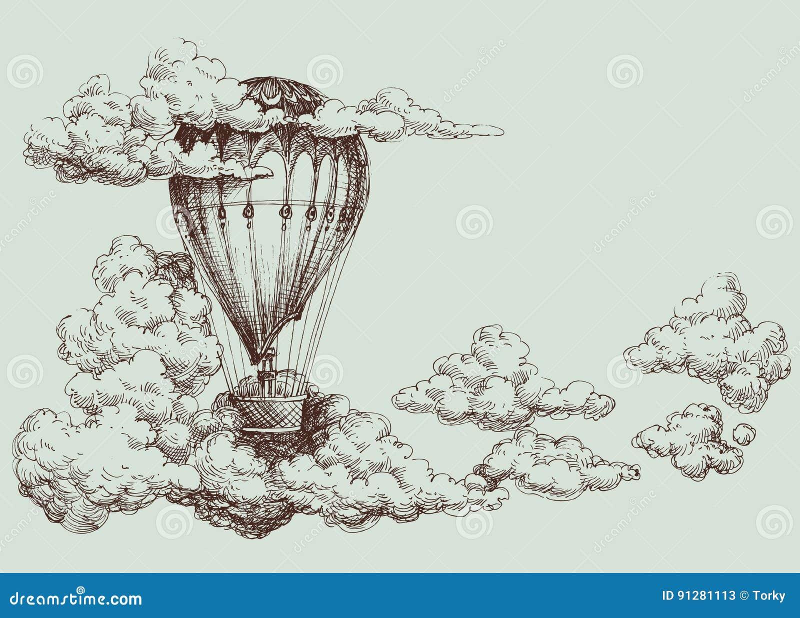 Affisch för ballong för varm luft