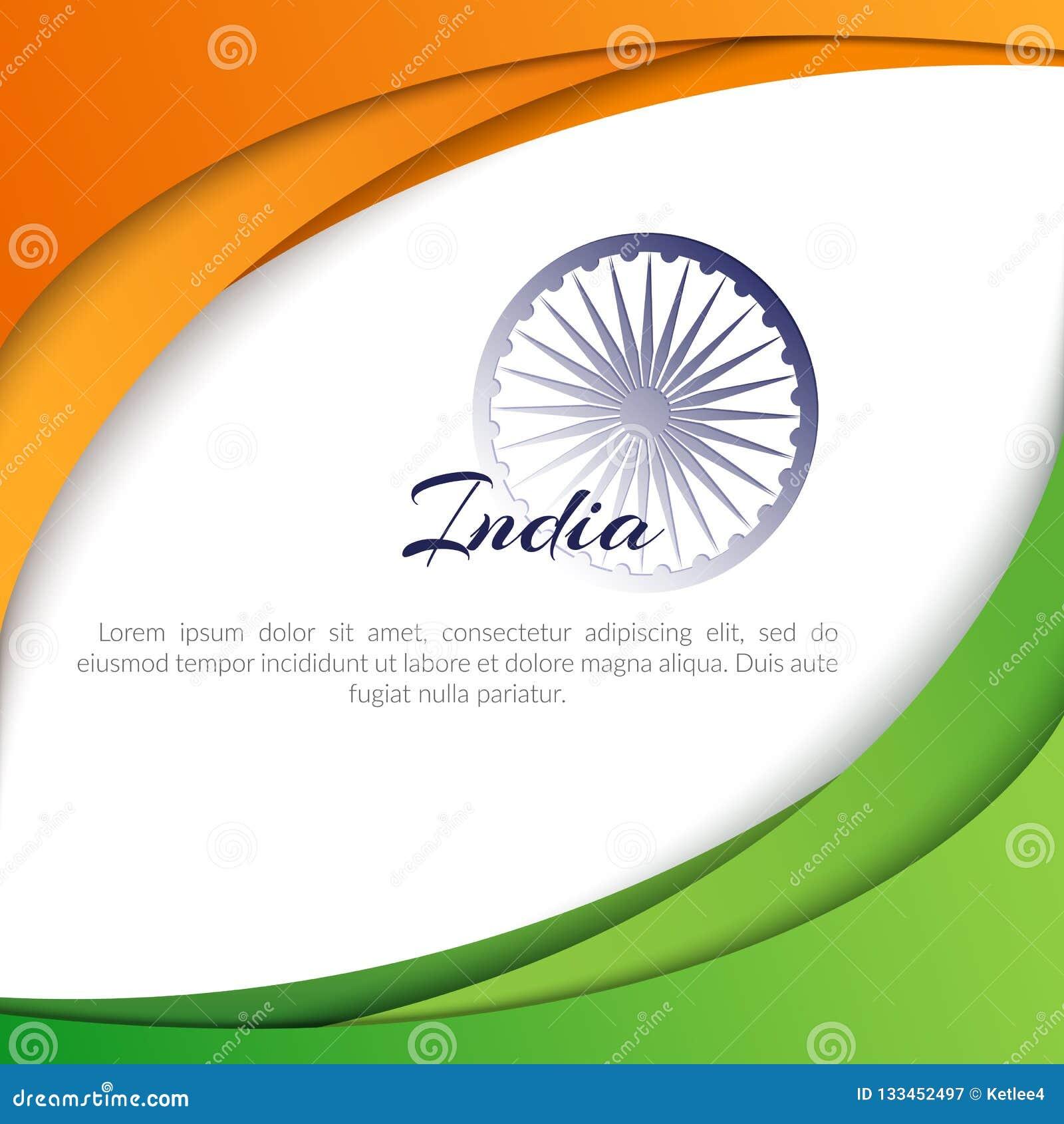 Affisch med abstrakta krökta linjer av färger av nationsflaggan av Indien och namnet av det moderna landsIndien abstrakta begrepp
