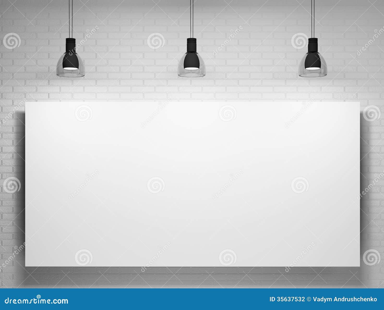 Affisch och lampor över tegelstenväggen