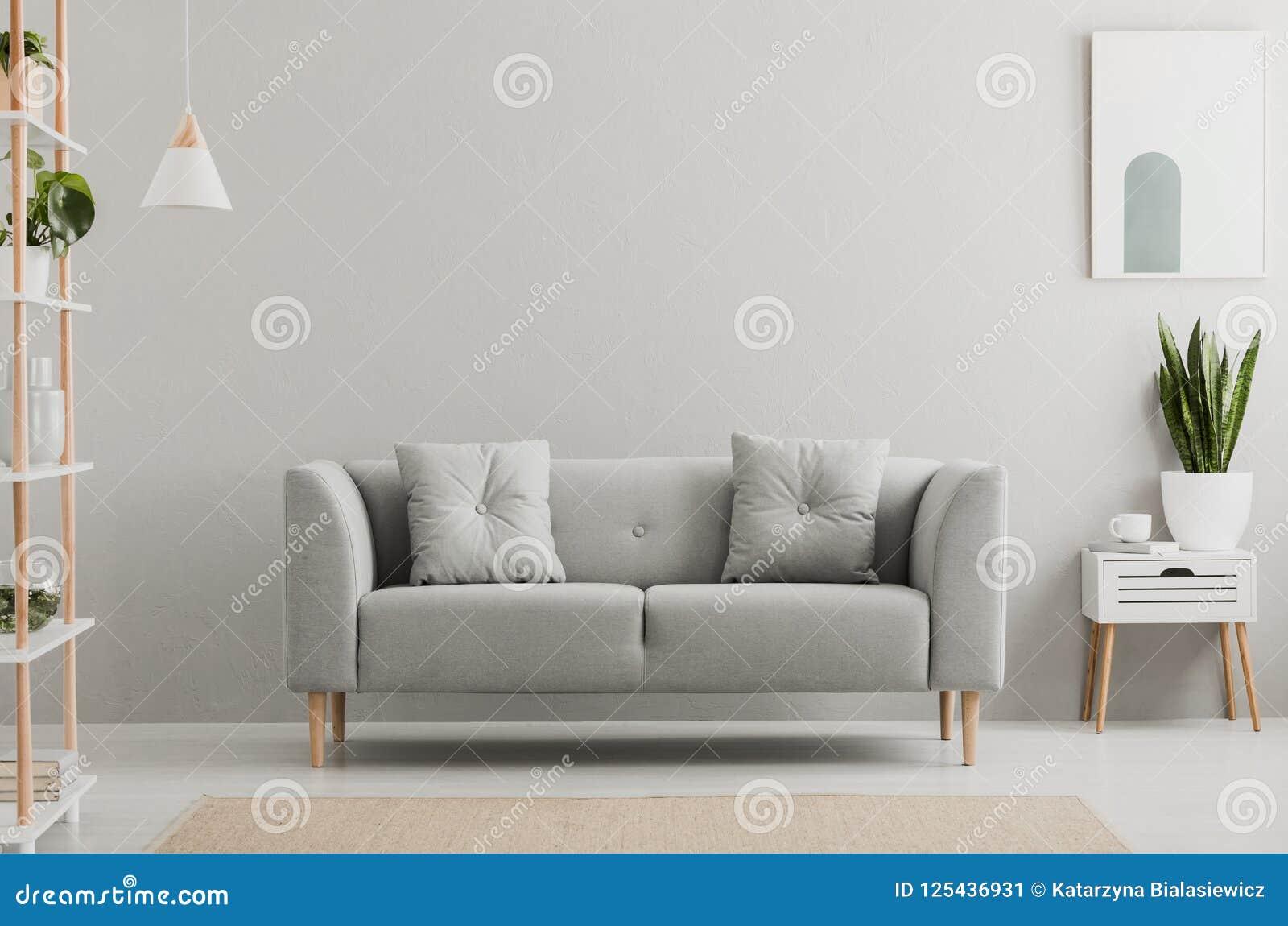 Affisch ovanför vitkabinettet med växten bredvid den gråa soffan i simpl
