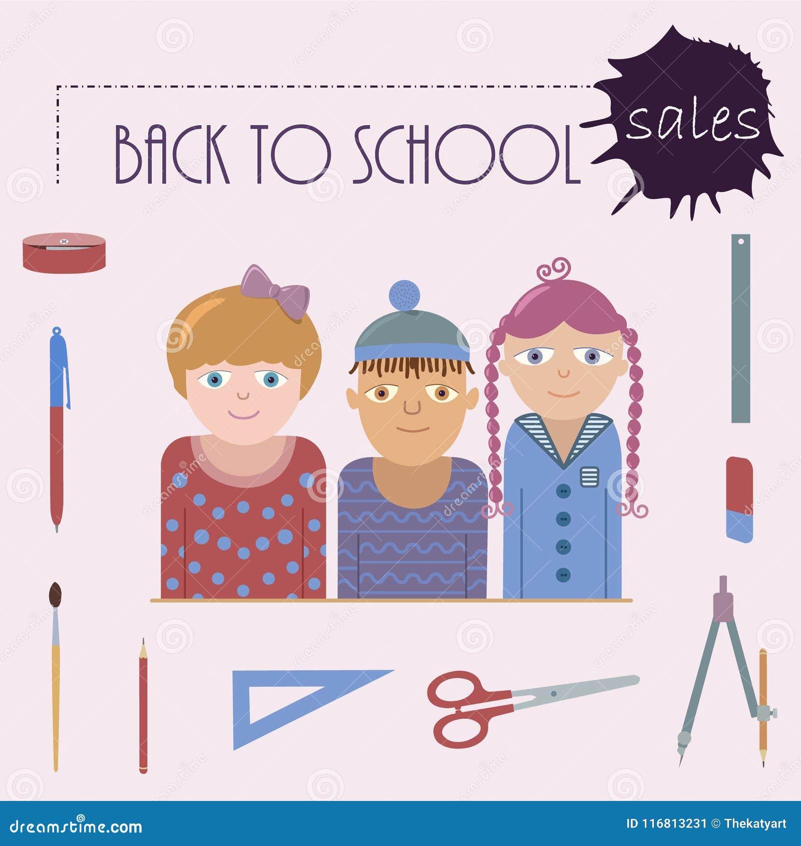 Affisch som tillbaka föreställer till skolaförsäljningar
