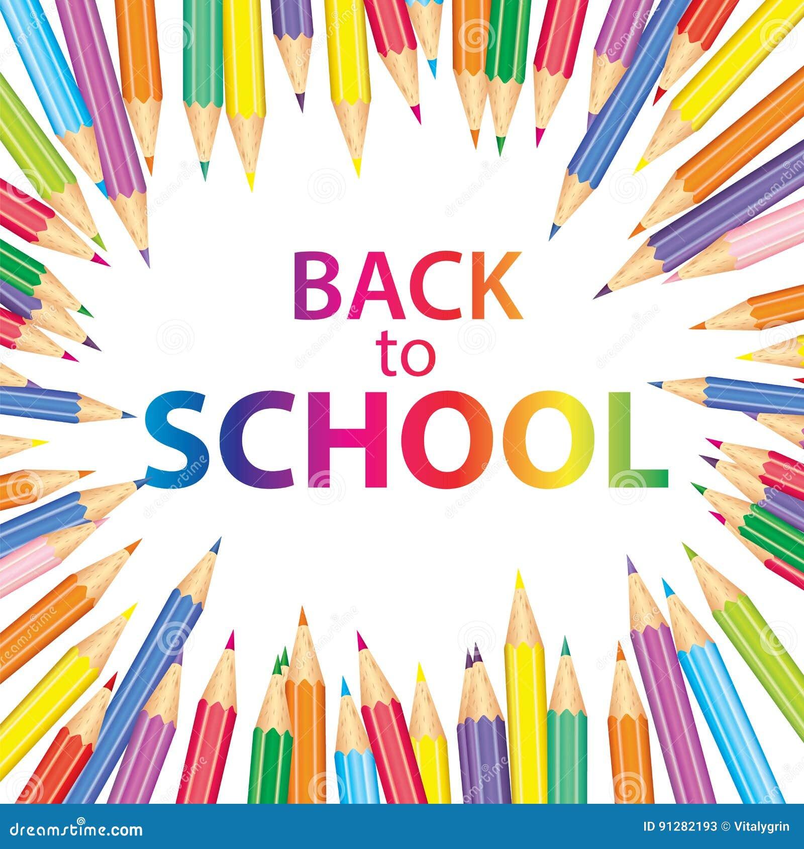 Affisch` tillbaka till skola` med kulöra blyertspennor också vektor för coreldrawillustration Höst Utbildning och utbildning
