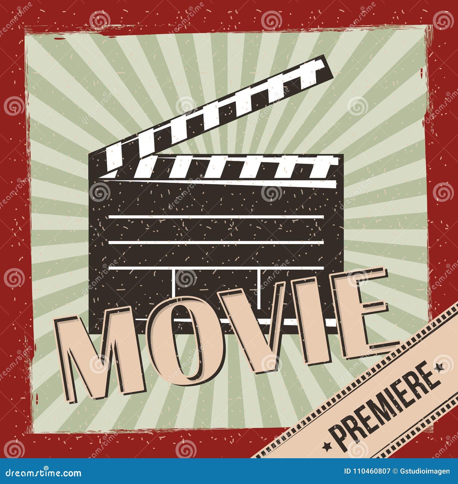 Affischen för inbjudan för filmfilmpremiären gör randig den retro bakgrund