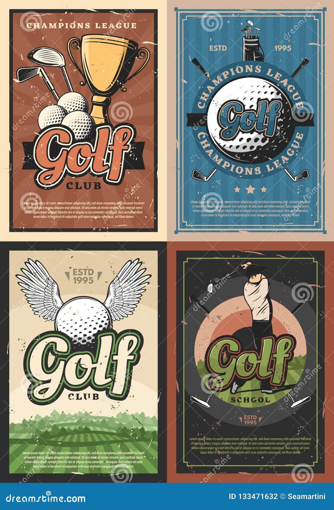 Affischer för spelare för klubba för skola för mästareligagolf