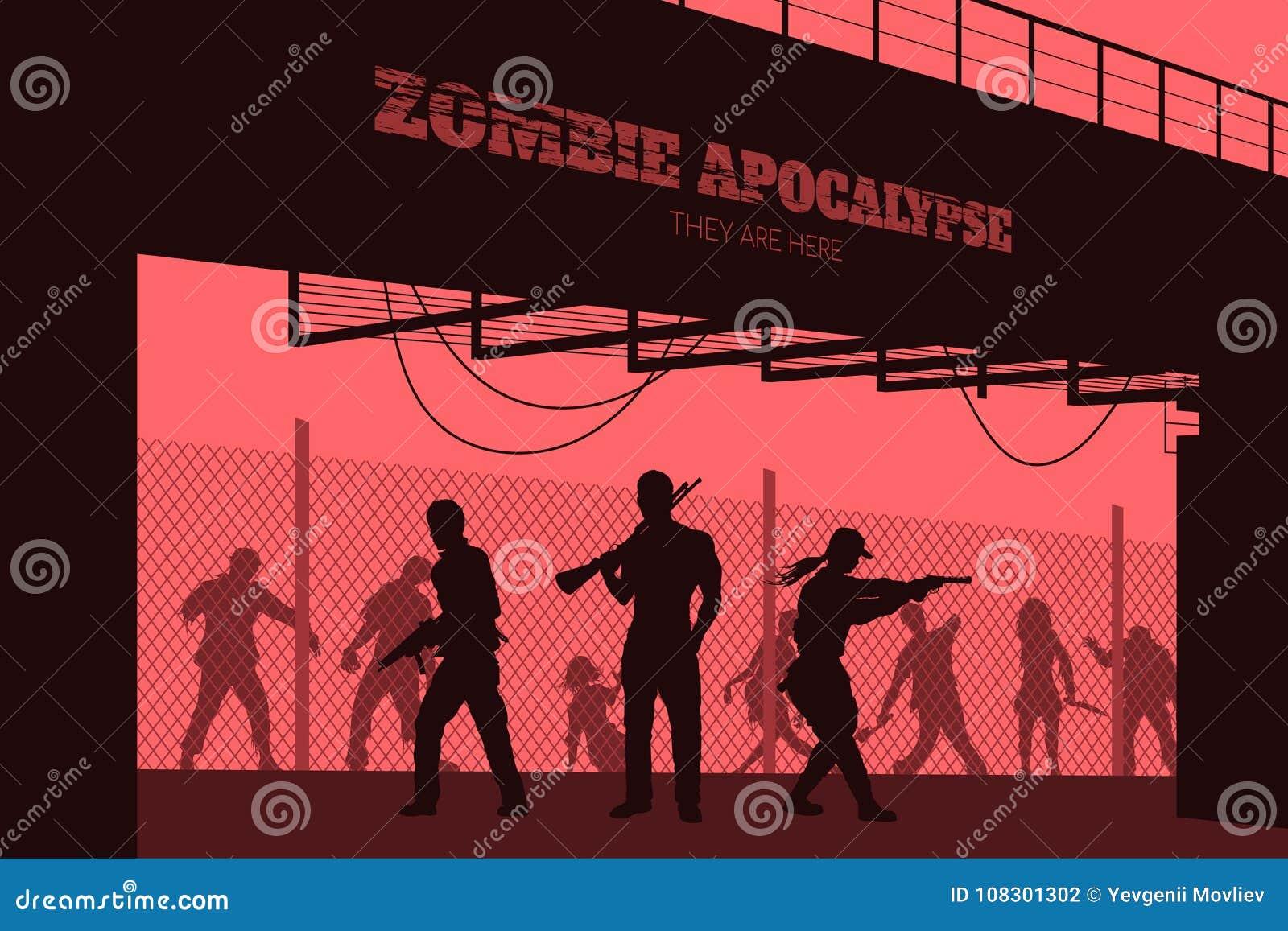 Affischlevande dödapokalyps Konturer av gunmans och dött folk på brobakgrund Videospel: skytt