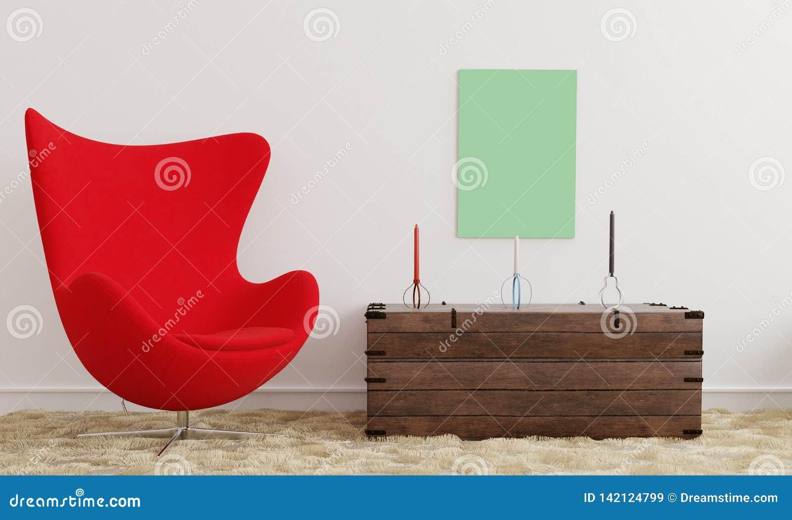 Affischmodell med en röd stol och stearinljus