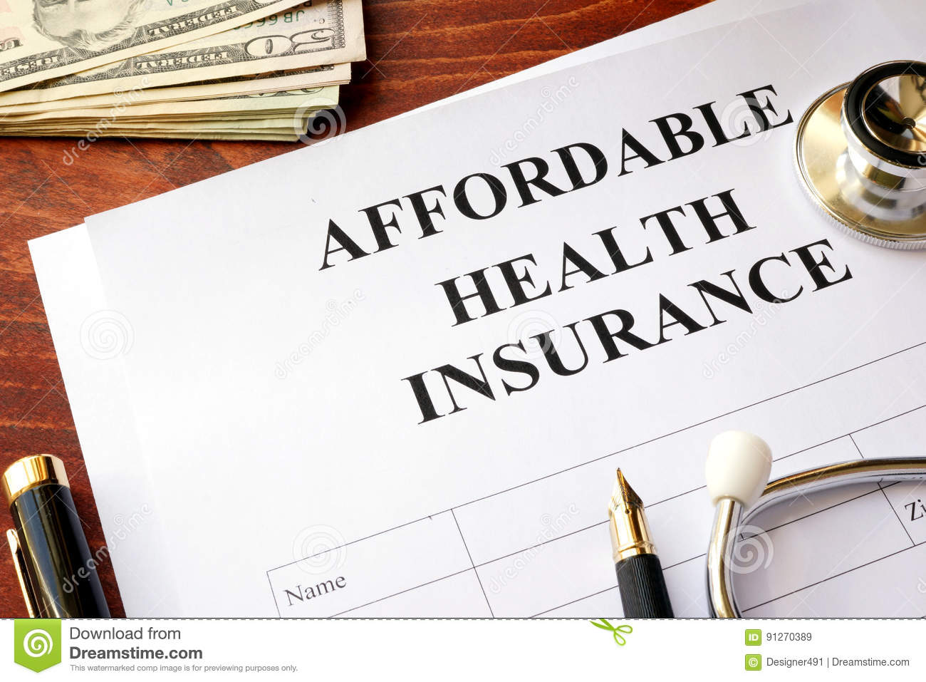 Affordable Health Insurance  Stock Image - Image of
