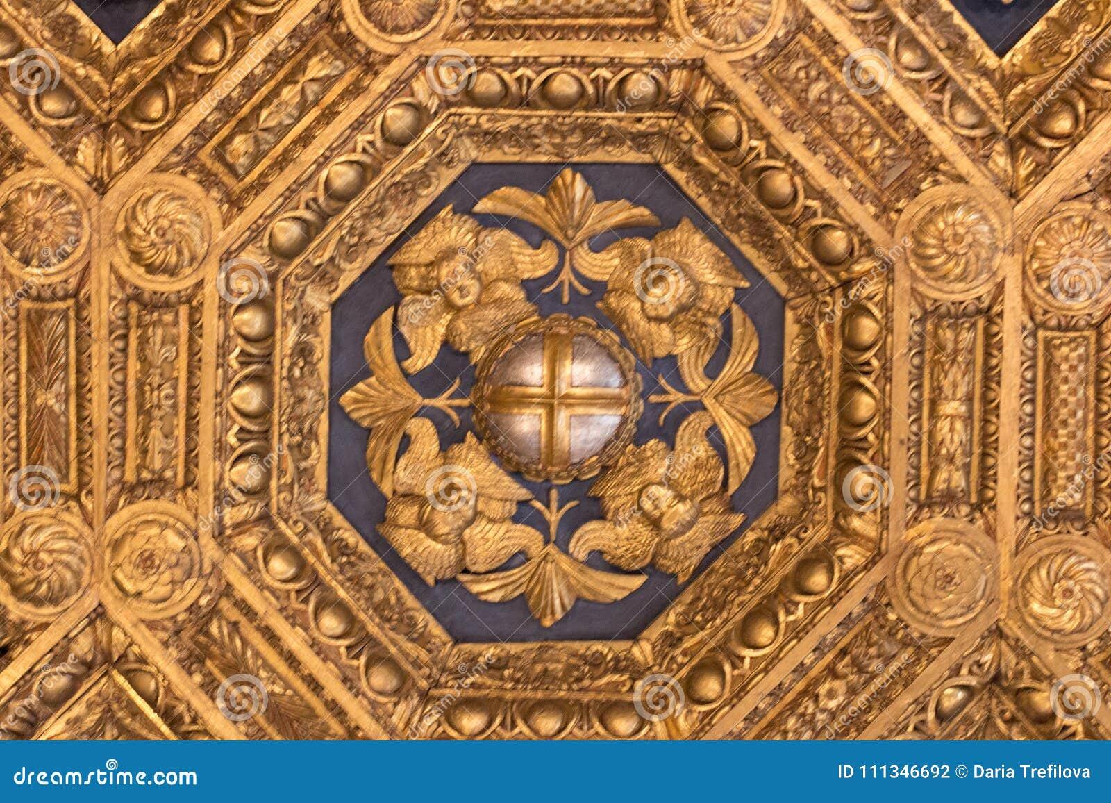 Affreschi nel ` Udienza del dell di Sala nel Palazzo Vecchio, Firenze, Italia