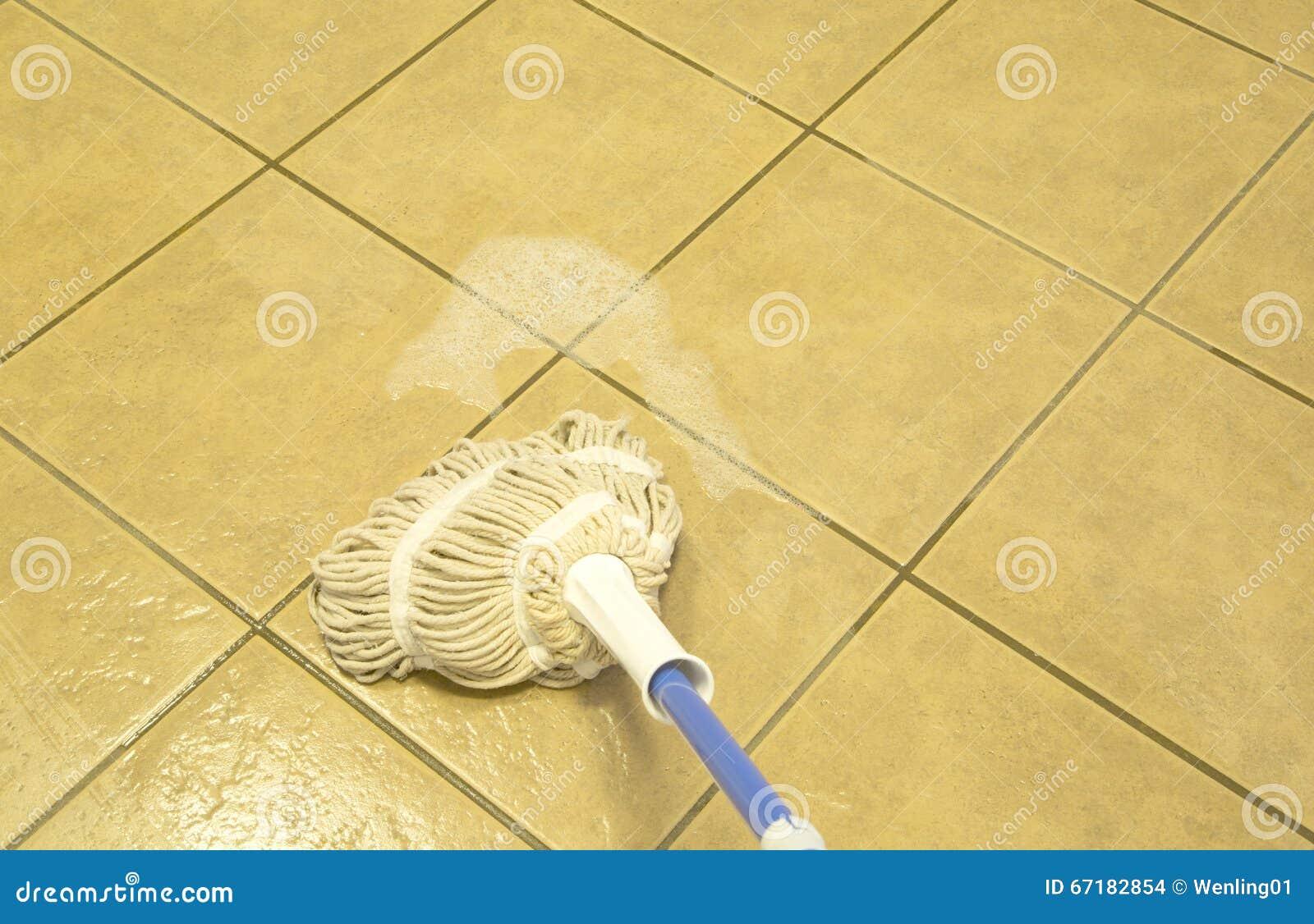 Afgeveegde betegelde vloer met zwabber stock foto afbeelding