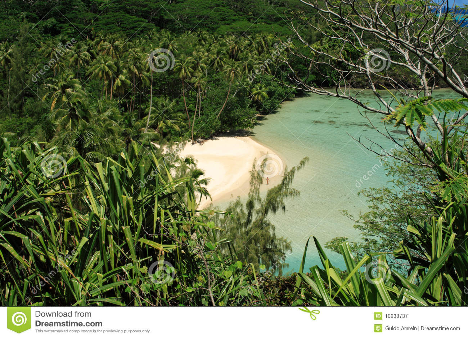 Afgezonderd Strand op Eiland Huahine