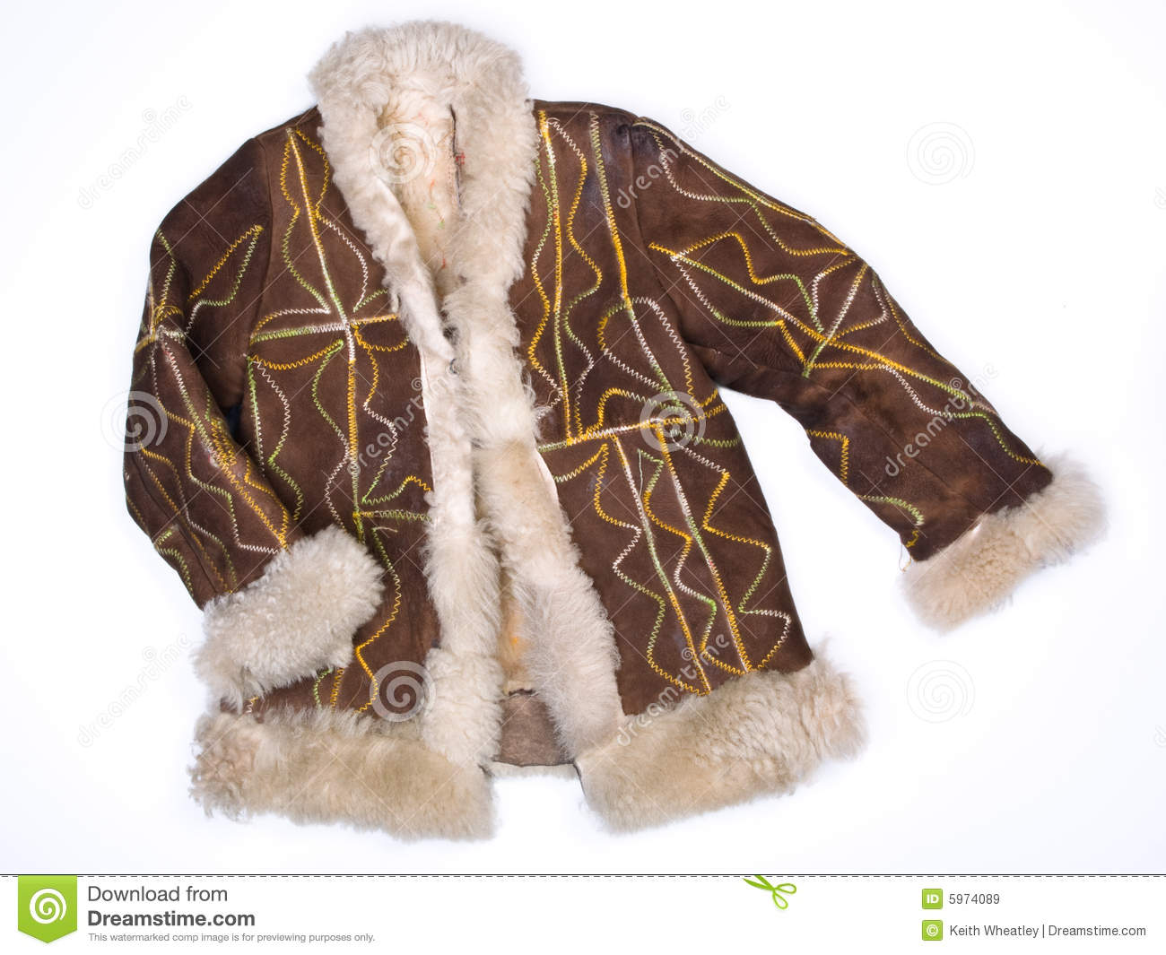 Afghan Coat Hippy Embroidered Sheepskin Royalty Free Stock Images ...