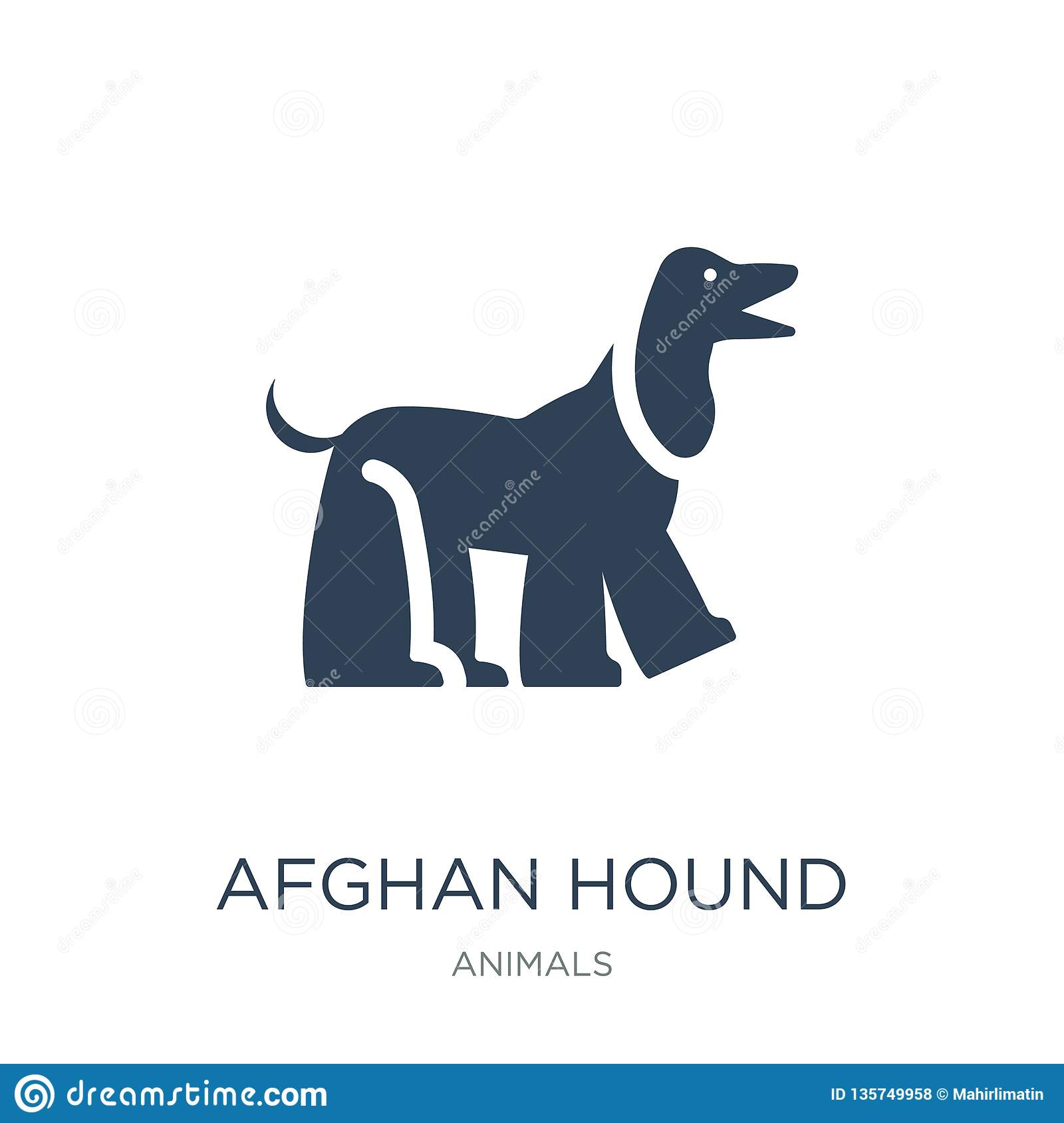 Afghan Hound Icon In Trendy Design Style  Afghan Hound Icon Isolated