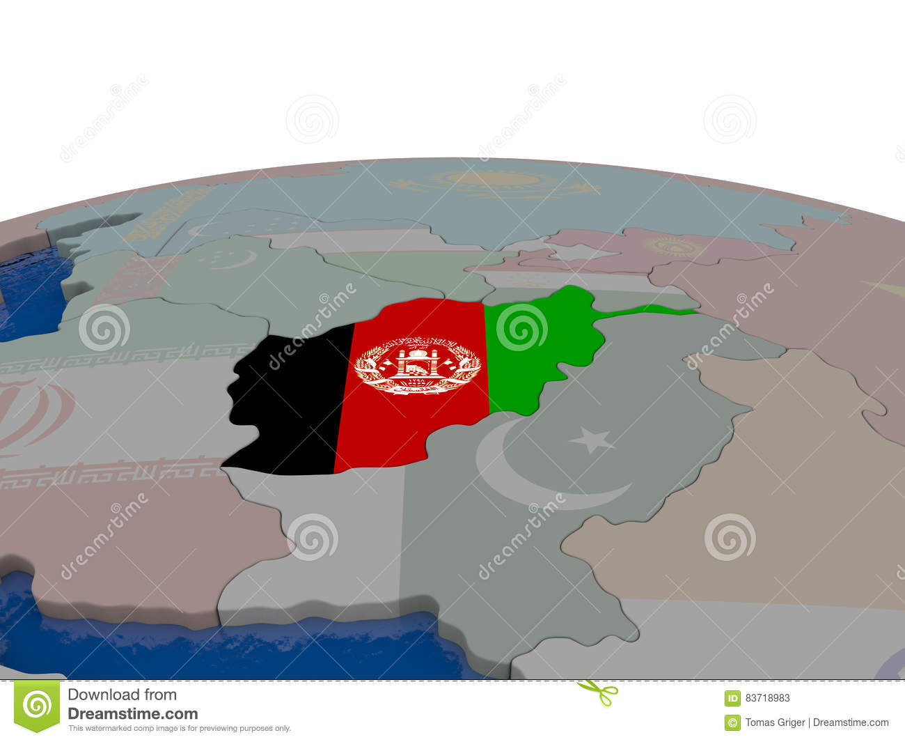 Afghanistan With Flag Stock Illustration