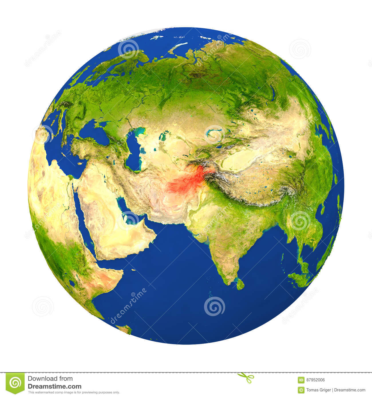 Afghanistan highlighted on earth stock illustration illustration afghanistan highlighted on earth gumiabroncs Image collections