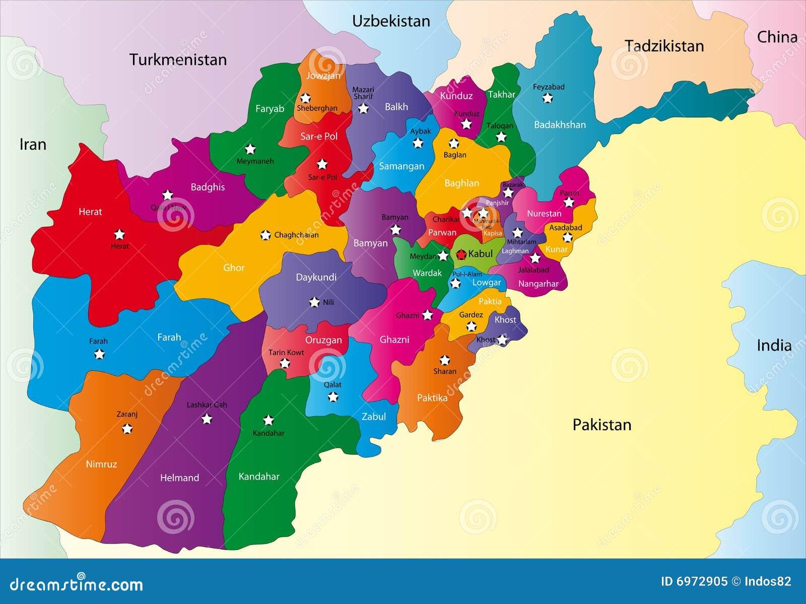 Karte Afghanistan Provinzen.Afghanistan Karte Vektor Abbildung Illustration Von