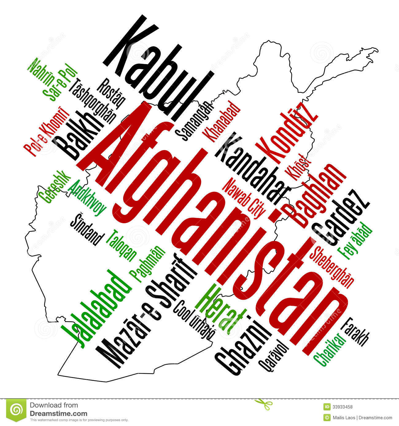 Download Afghanistan map and cities stock vector. Illustration of concept - 33933458