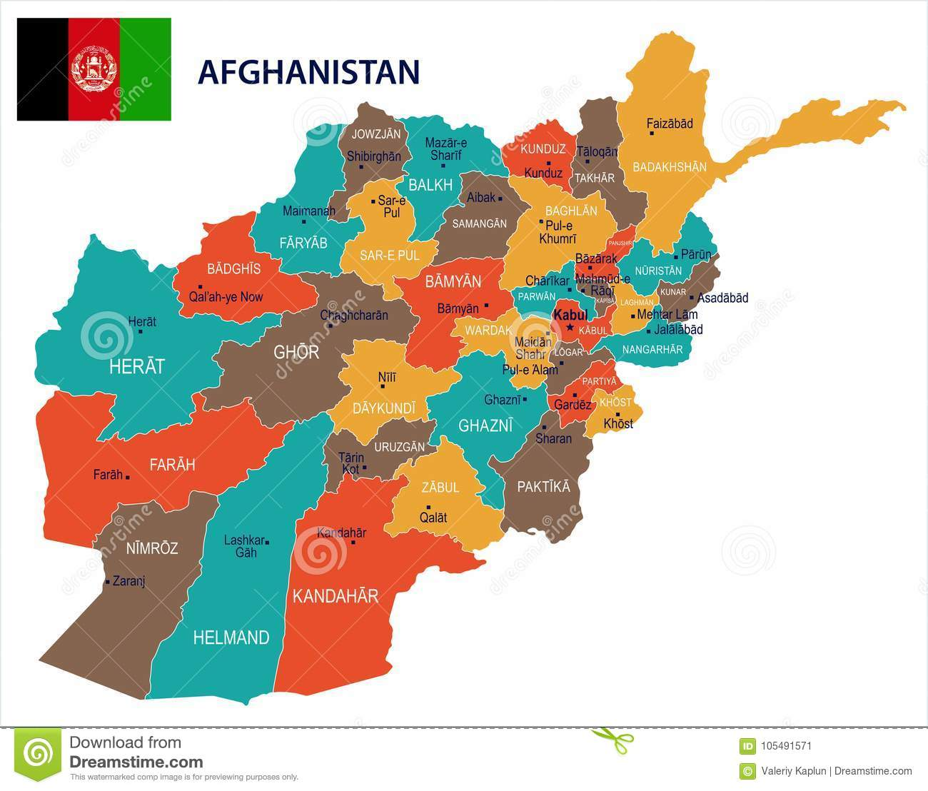 Afghanistan - Map And Flag Detailed Vector Illustration Stock ...