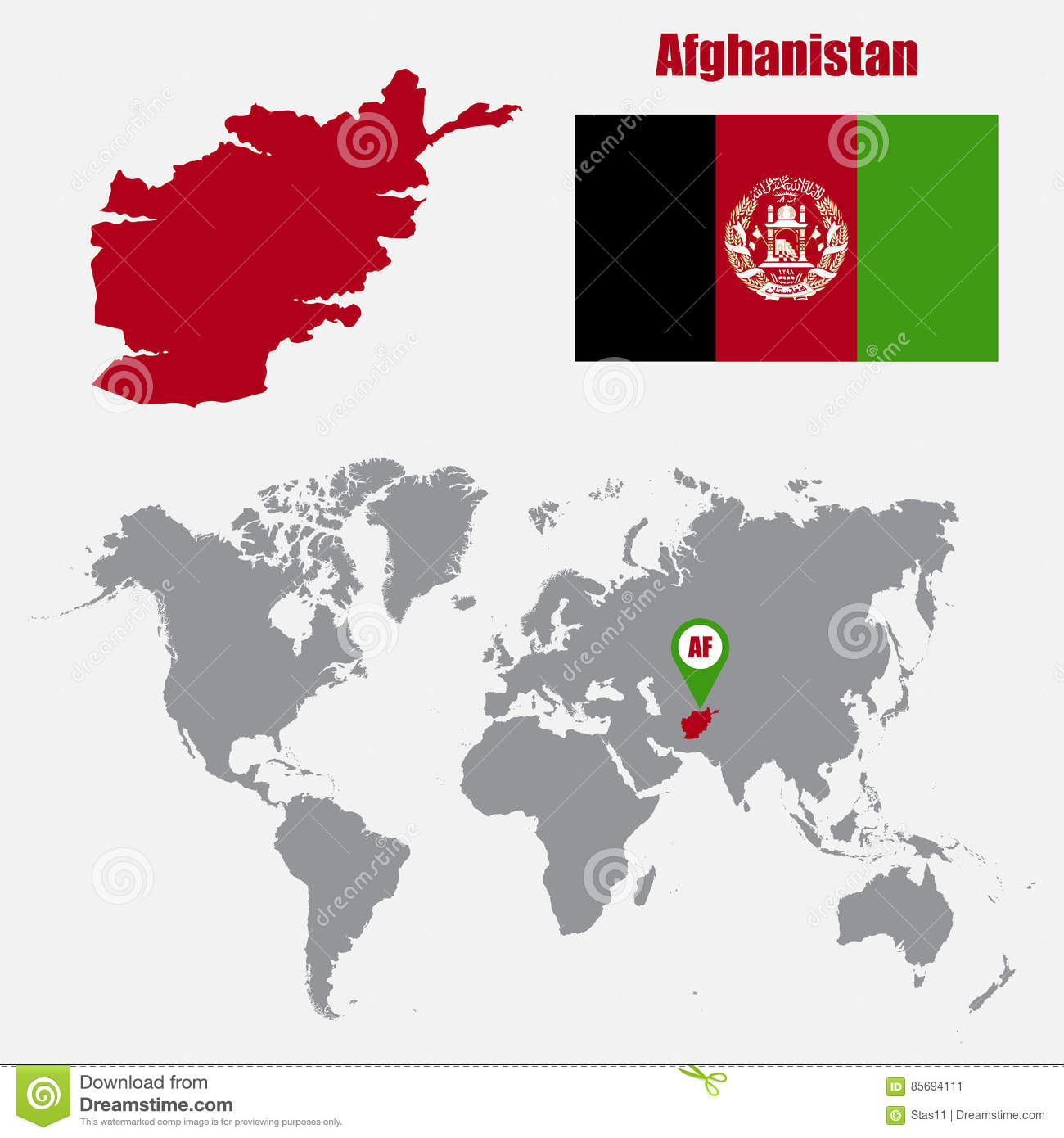 Afghanistan Map On A World Map With Flag And Map Pointer ...