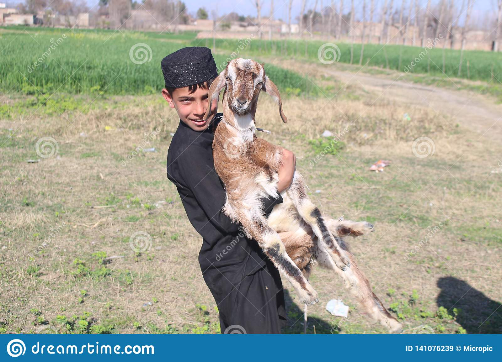 Afghanistan Pakistan Pashtun Pathan Boy With Goat Editorial