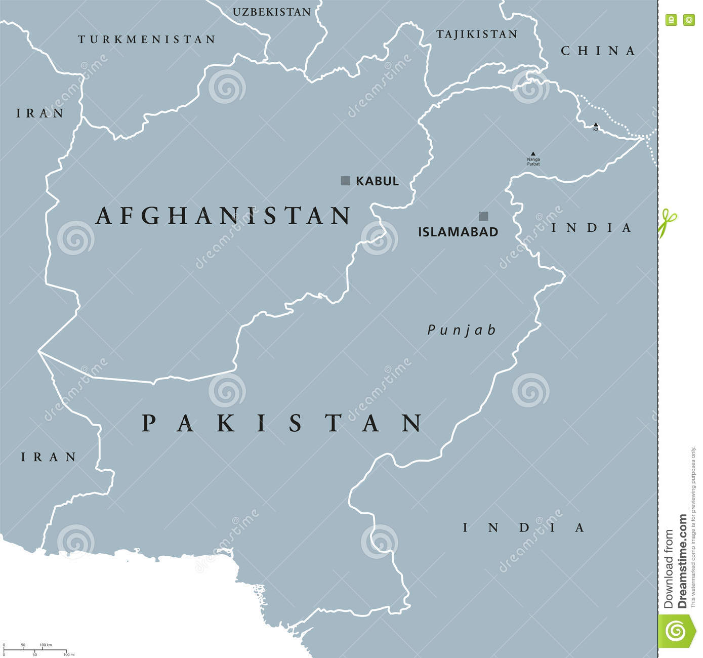 Afghanistan And Pakistan Political Map Stock Vector