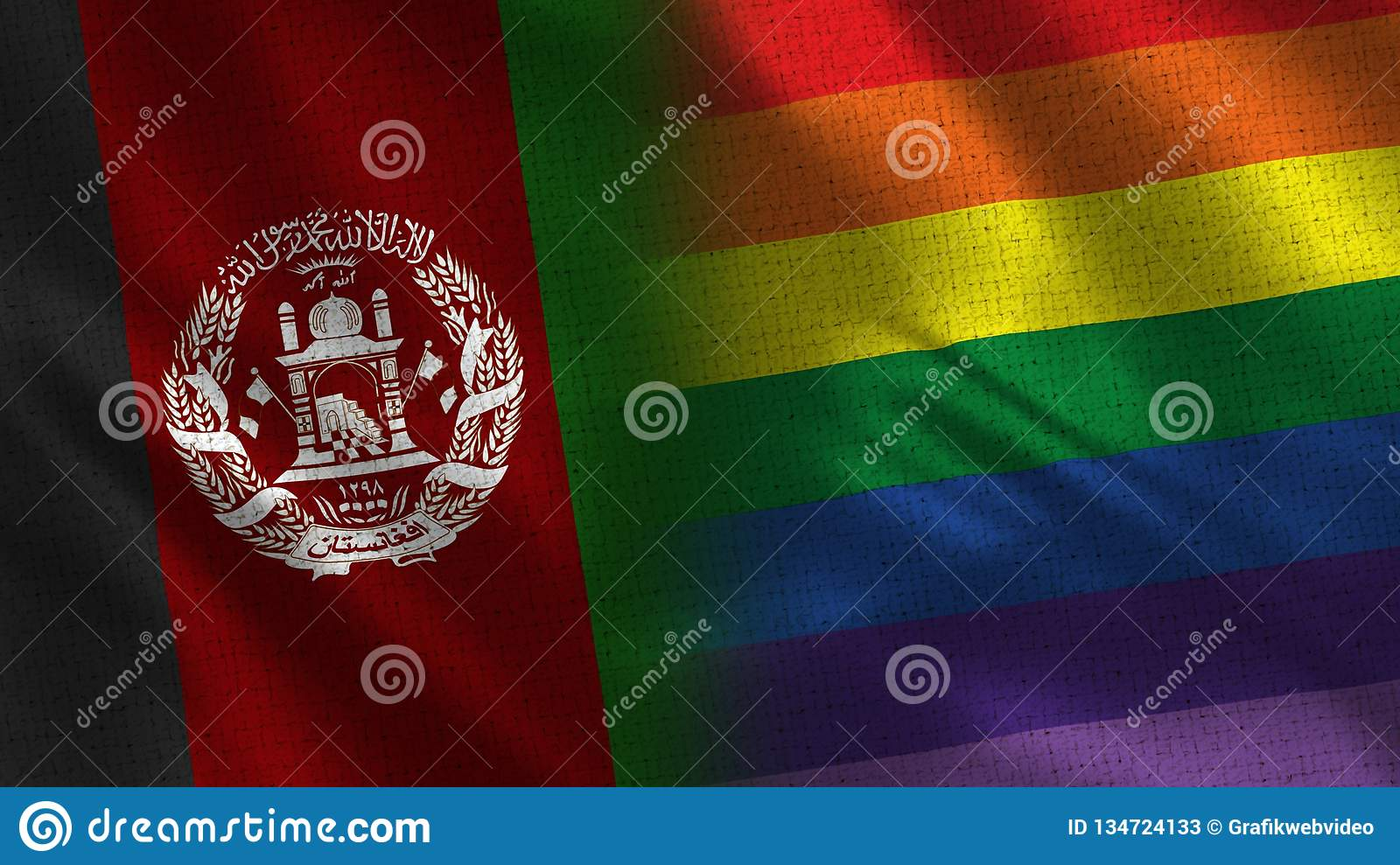 Afghanistan and Pride Realistic Half Flags Together