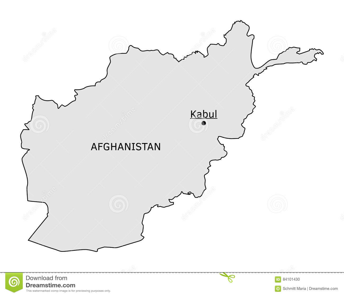 Afghanistan Silhouette Map With Kabul Capital Stock Vector Image - Where is kabul