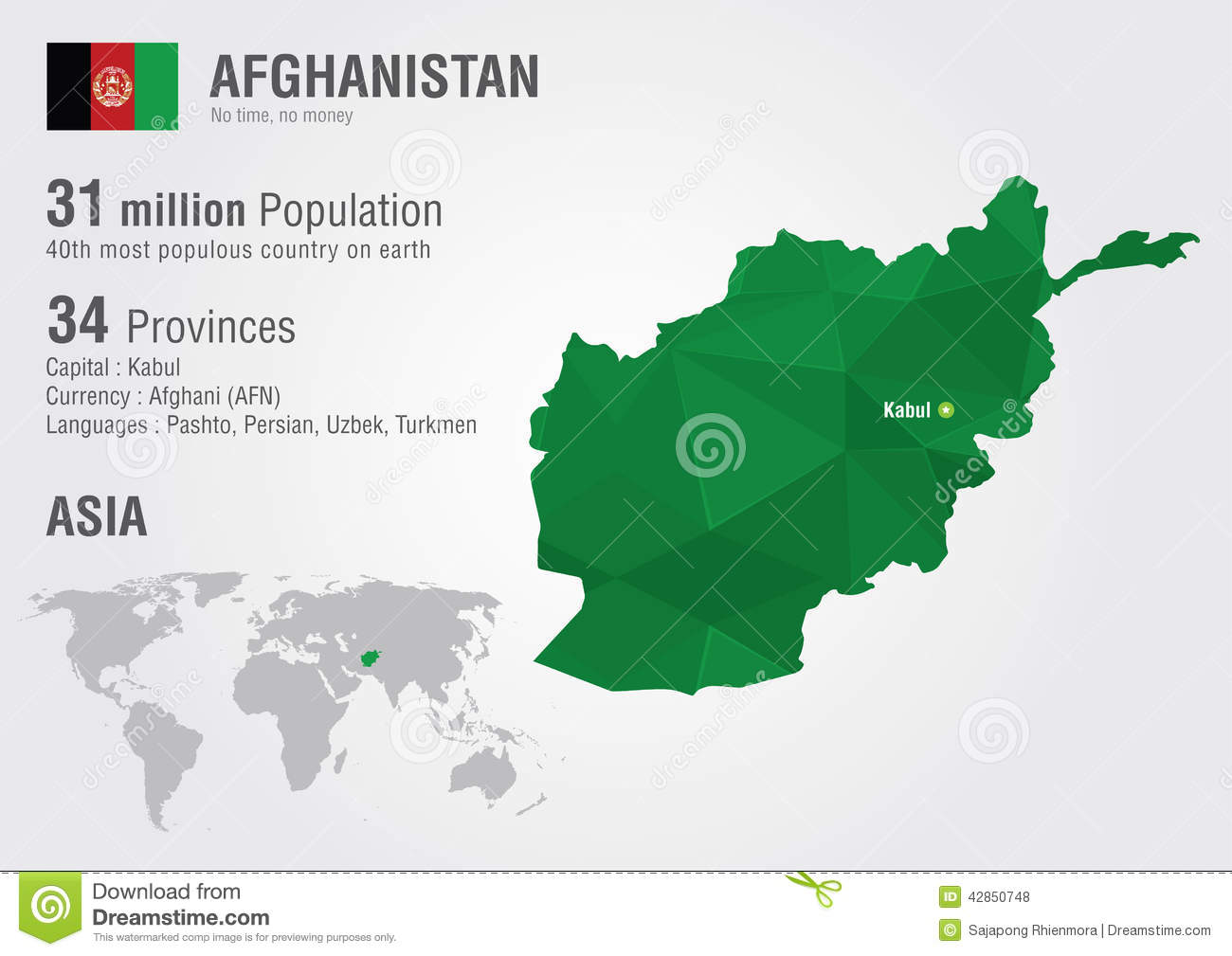 Afghanistan World Map With A Pixel Diamond Texture. Stock Photo ...