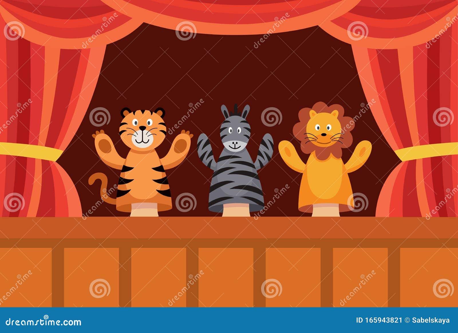 Afiche De La Muestra De Marionetas De Mano Con Animales De Juguete De Dibujos Animados Que Realizan Una Obra De Teatro Ilustración Del Vector Ilustración De Humor Juego 165943821