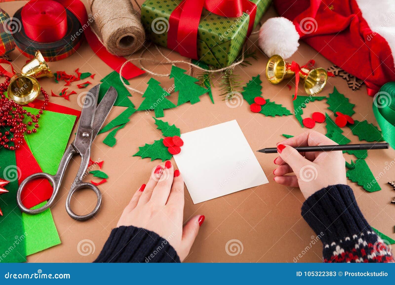 Creacion De Felicitaciones De Navidad.Aficion Diy Creativa Decoracion De La Navidad De La Tarjeta