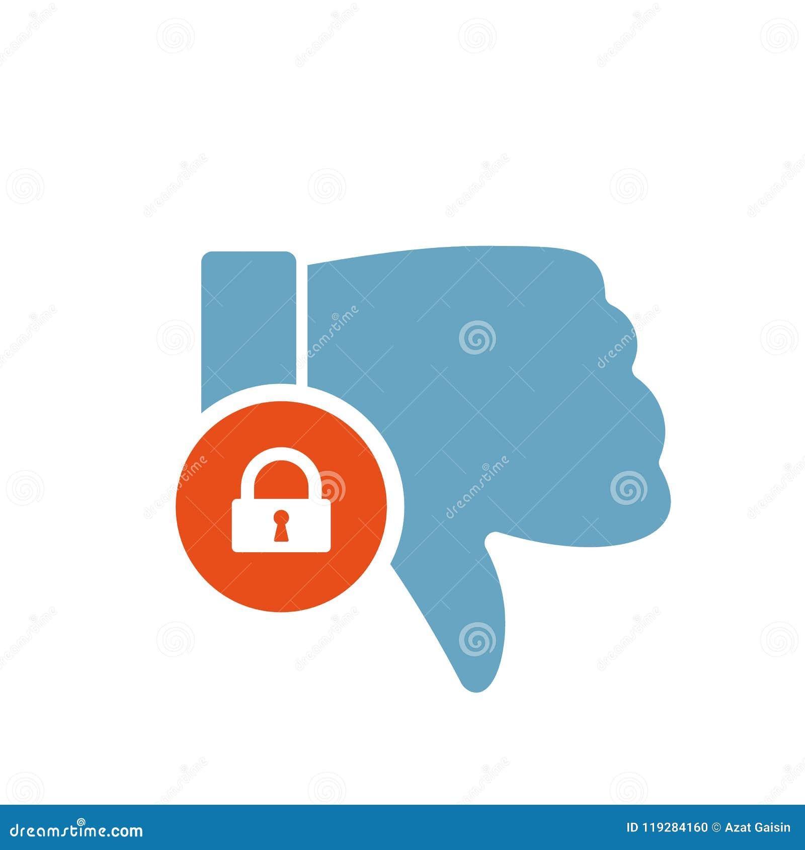 Afkeerpictogram, gebarenpictogram met hangslotteken Afkeerpictogram en veiligheid, bescherming, privacysymbool