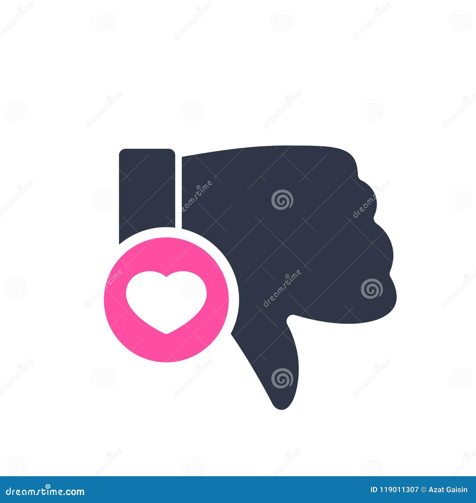 Afkeerpictogram, gebarenpictogram met hartteken Afkeerpictogram en favoriet, als, liefde, zorgsymbool
