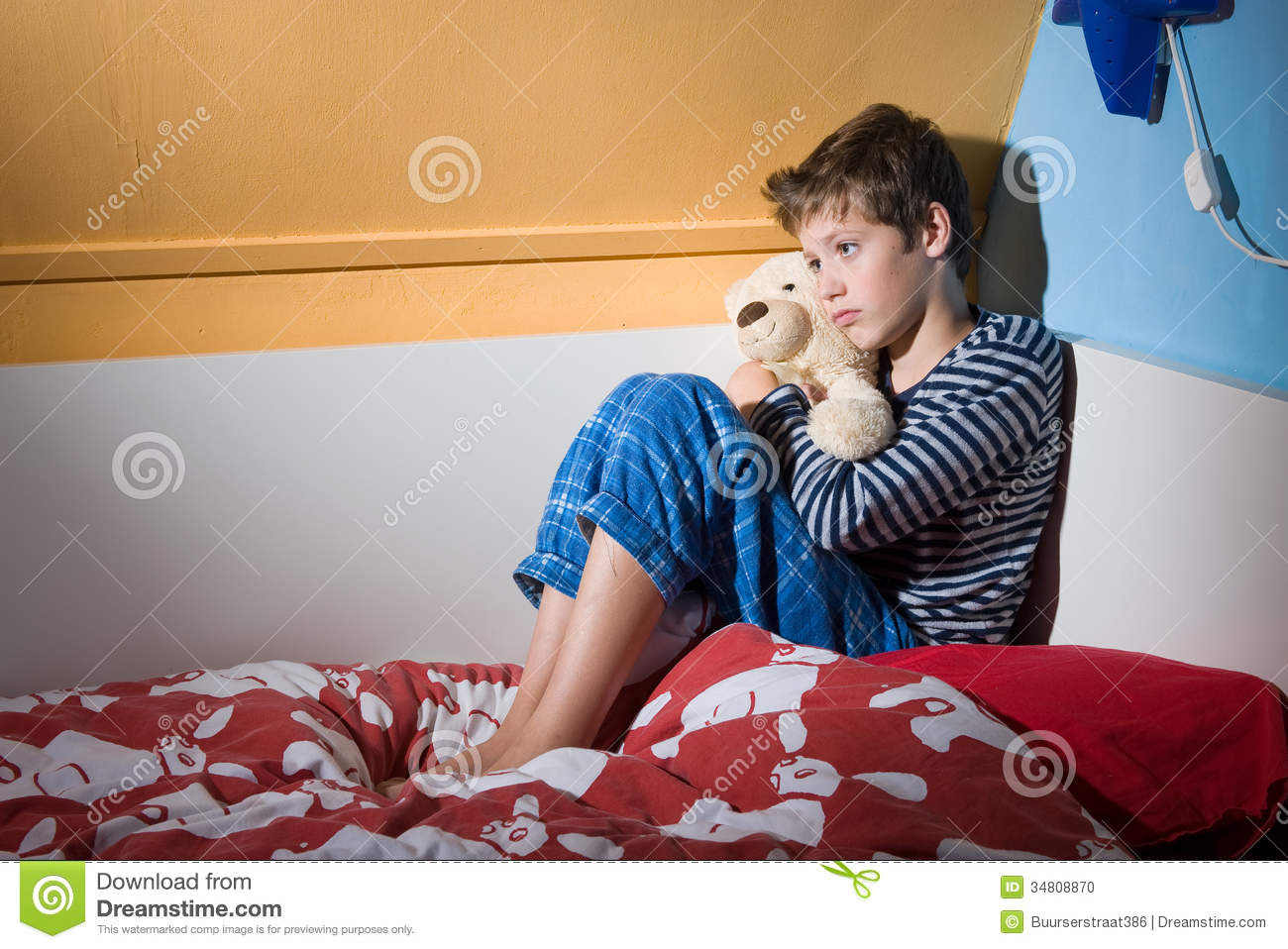 Afraid And Depressed Young Boy Stock Photo Image Of