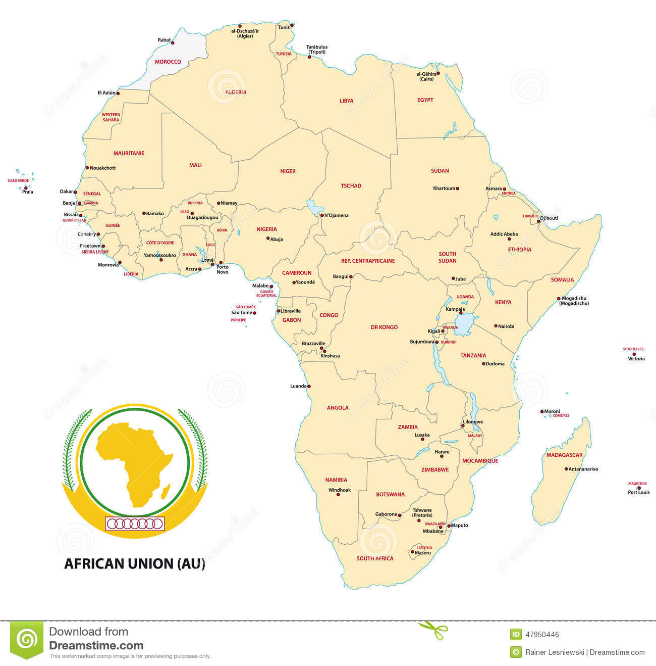 Africa (African Union) map stock vector. Illustration of mauritius