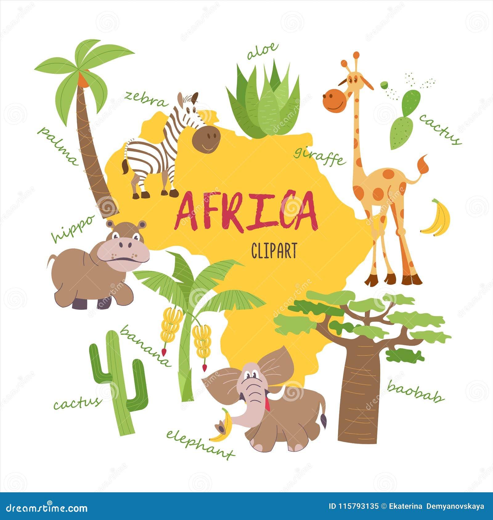African cartoon animals stock vector. Illustration of funny